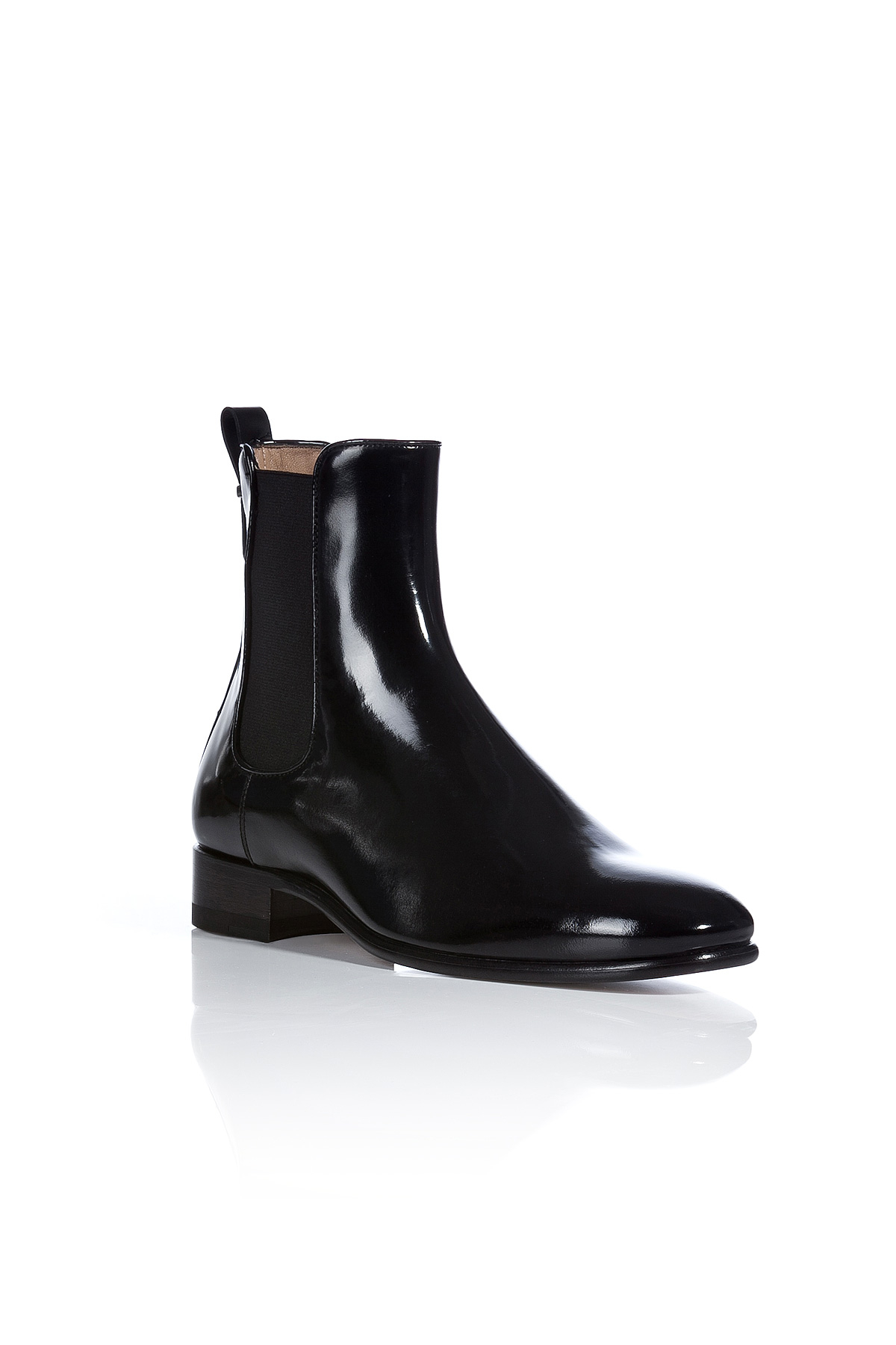 ferragamo patent leather nagoya chelsea boots black in