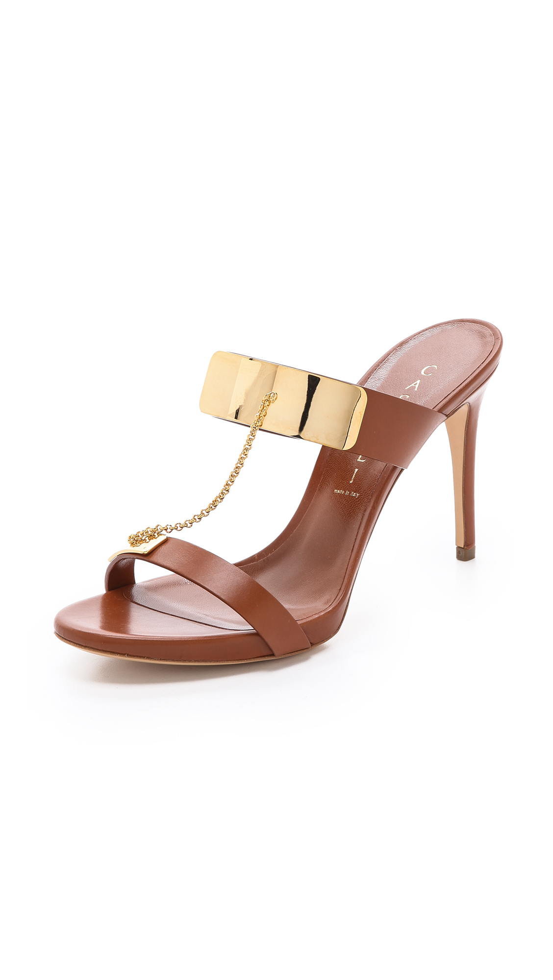 Lyst Casadei Metal Plate Strappy Sandals In Metallic