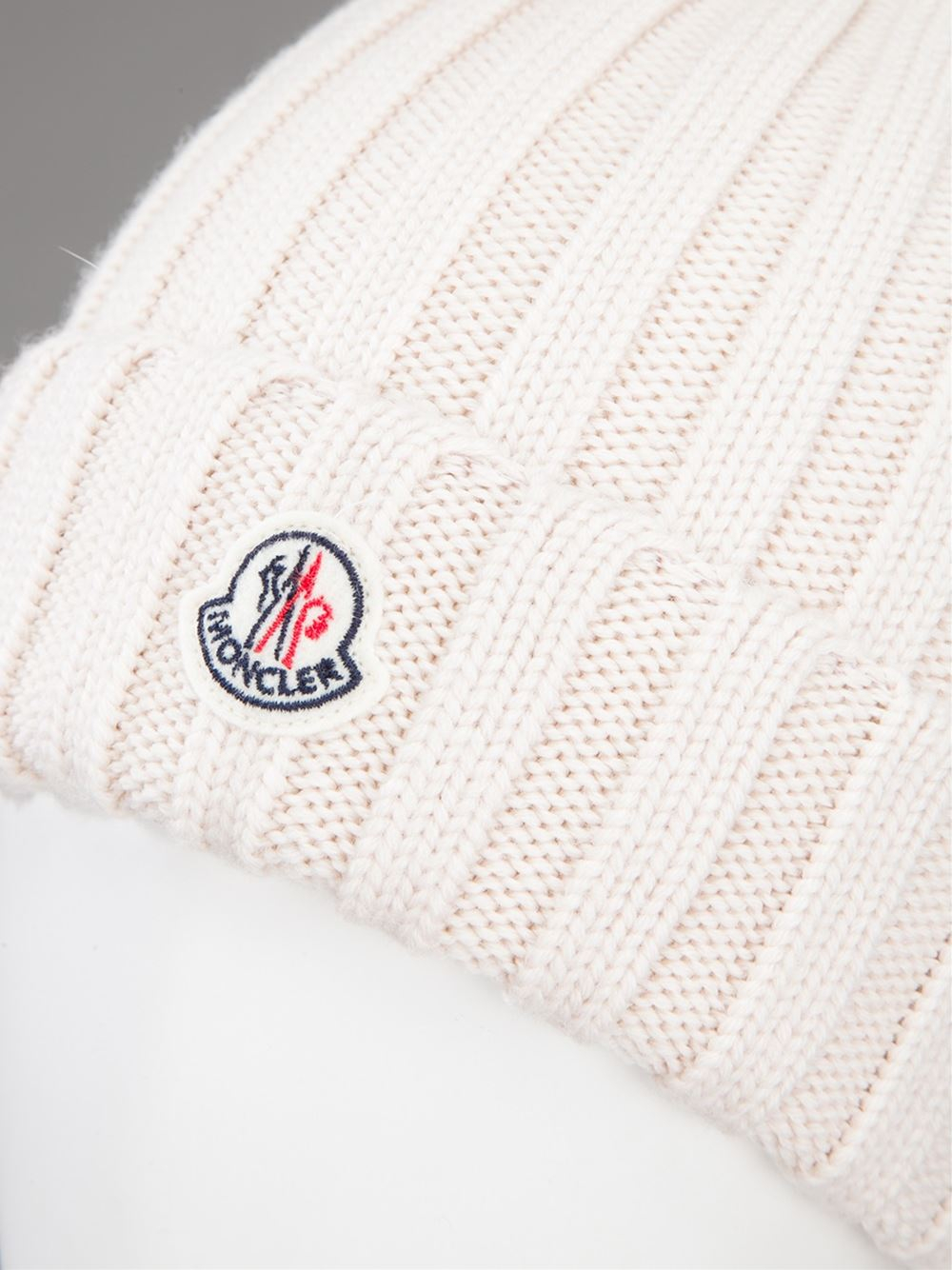 Lyst - Moncler Ribbed Knit Beanie Hat in Natural 2d3b0b82cd3