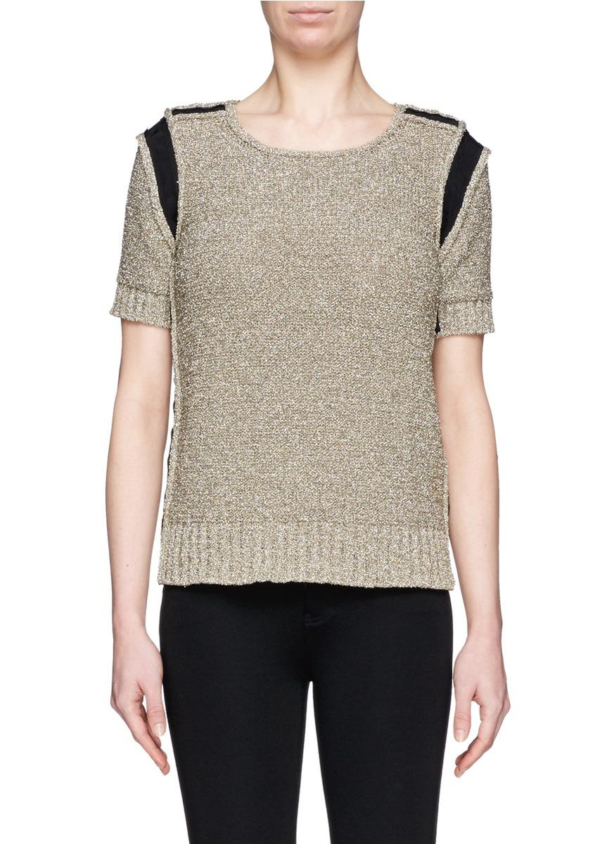 Lanvin Grosgrain Ribbon Trim Lamé Knit Sweater in Metallic | Lyst