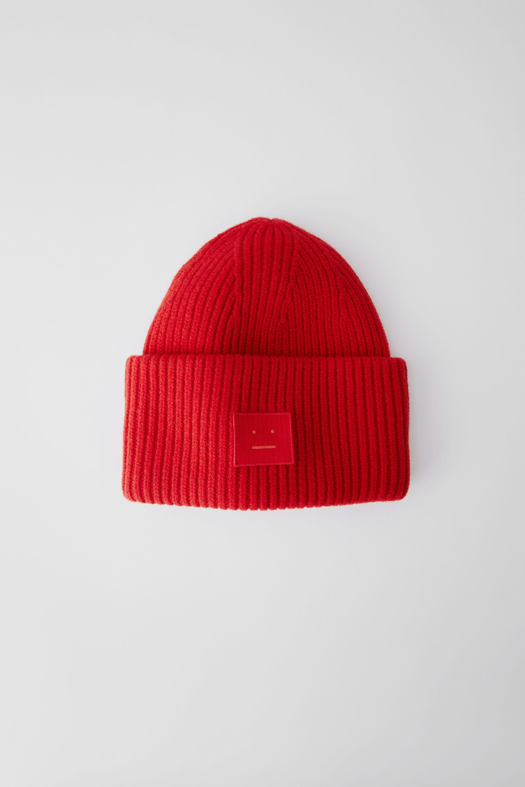 8df54a6b4ba Lyst - Acne Studios Pansy Face Tomato Red Ribbed Beanie Hat in Red ...