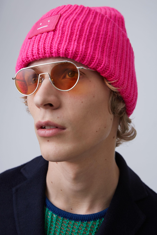 Lyst - Acne Studios Pansy Wool Fuchsia Pink Ribbed Beanie Hat in ... de188bb0ea7