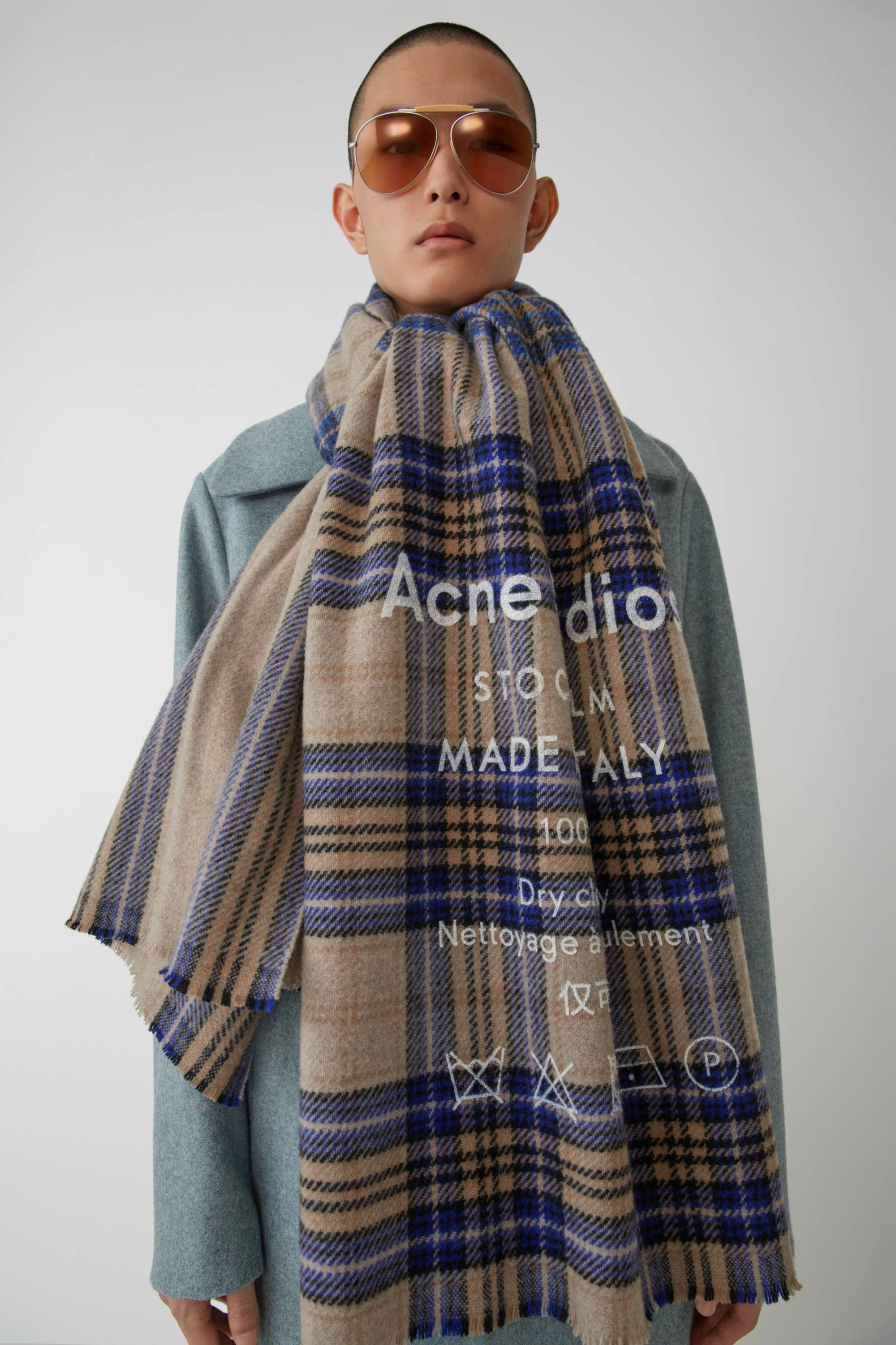 c9f29469c7a85 Acne - Cassiar Check Oatmeal Beige   Blue Check Checked Logo Scarf for Men  - Lyst. View fullscreen