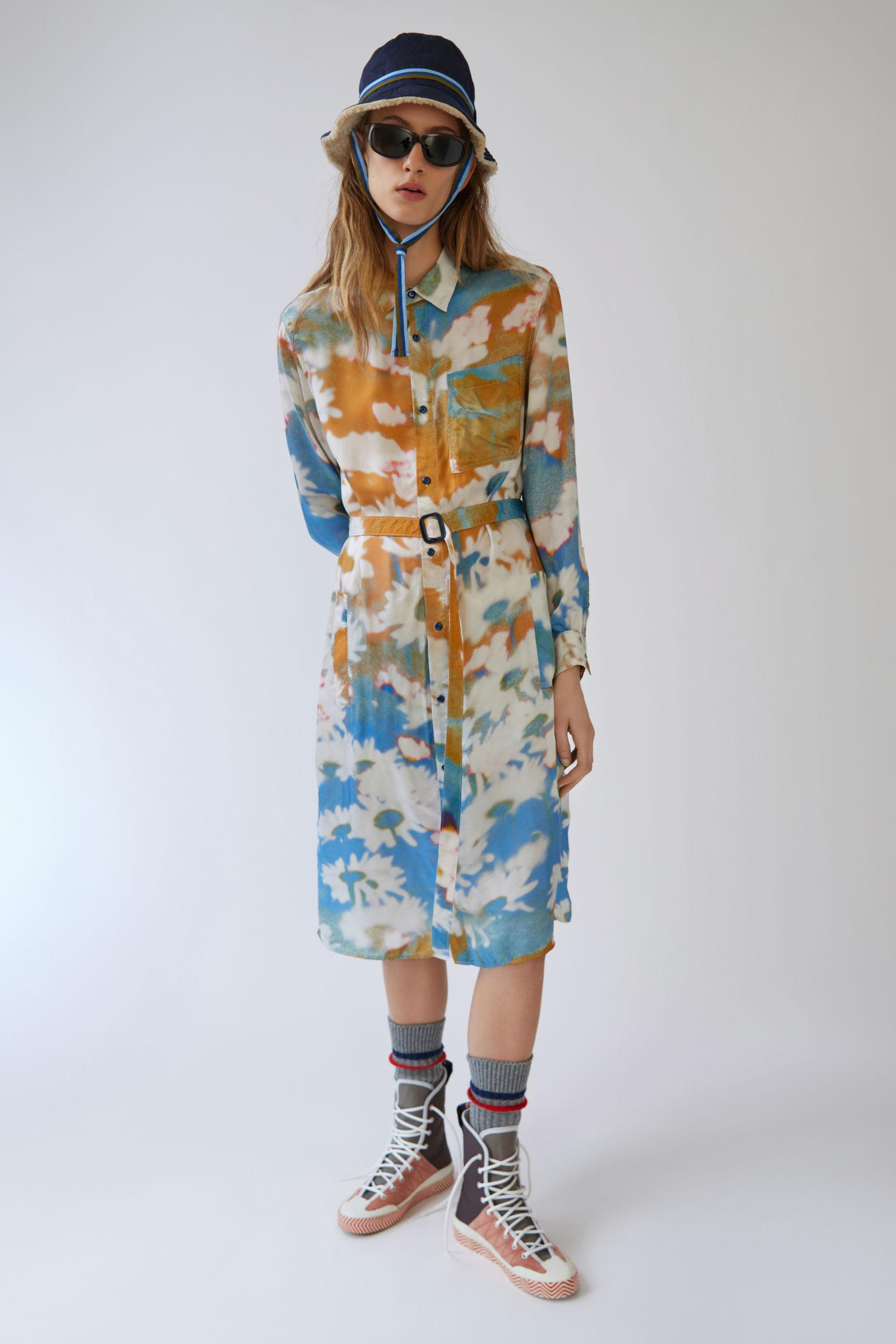 Acne Belted Shirt Dress Flowers Blue Multi In Blue Lyst