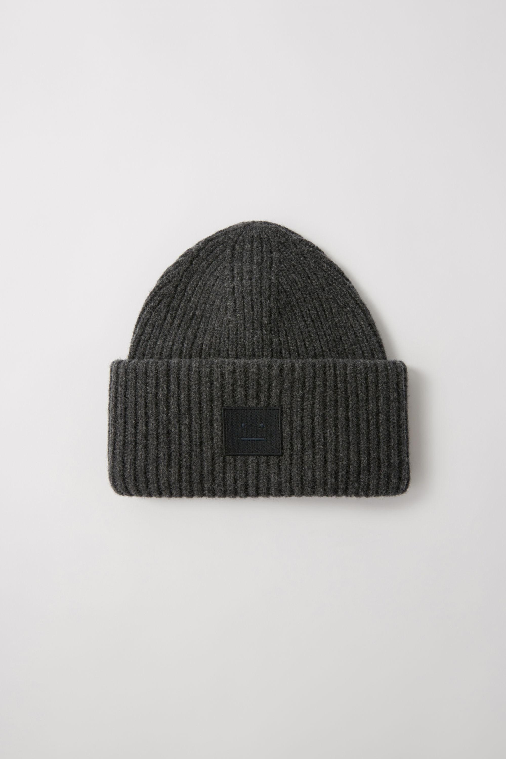 9c86165e18d Acne Studios. Men s Gray Pansy N Face Charcoal Melange Ribbed Beanie Hat