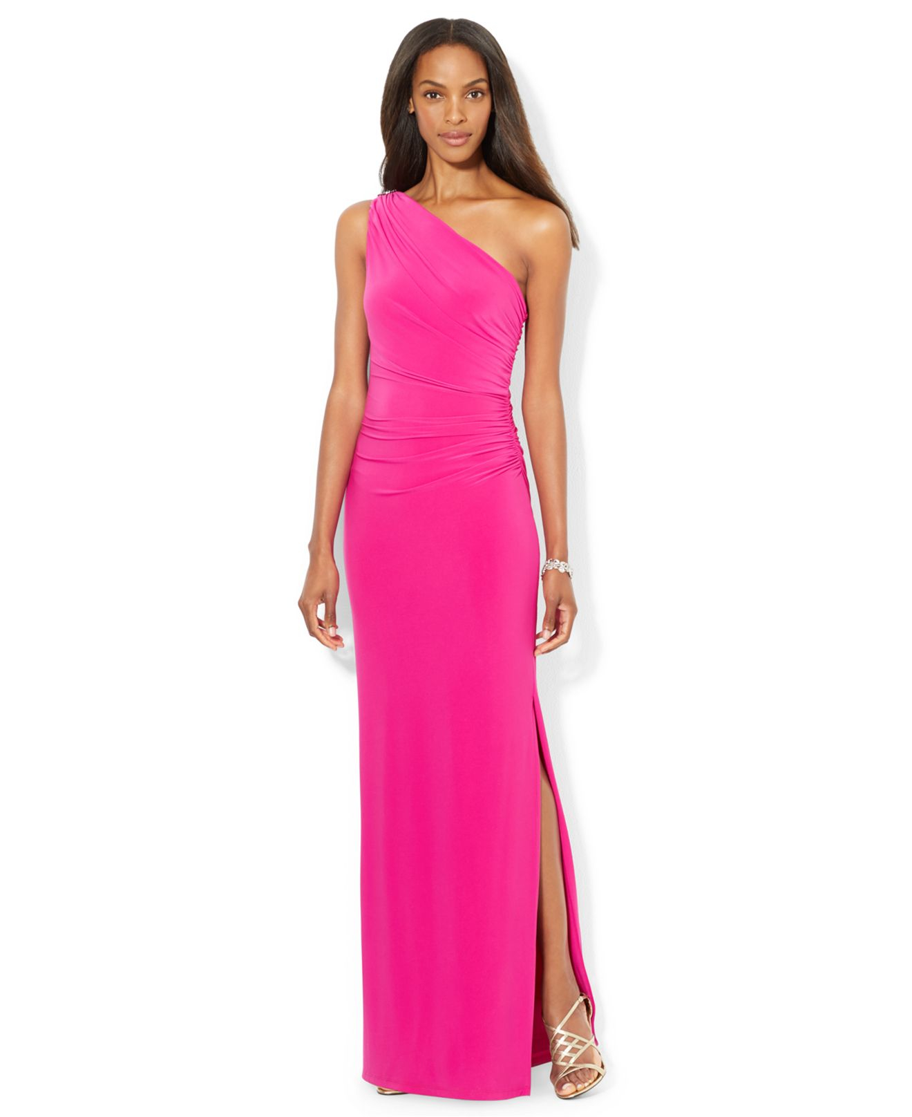 Lyst Lauren By Ralph Lauren One Shoulder Evening Gown In Pink