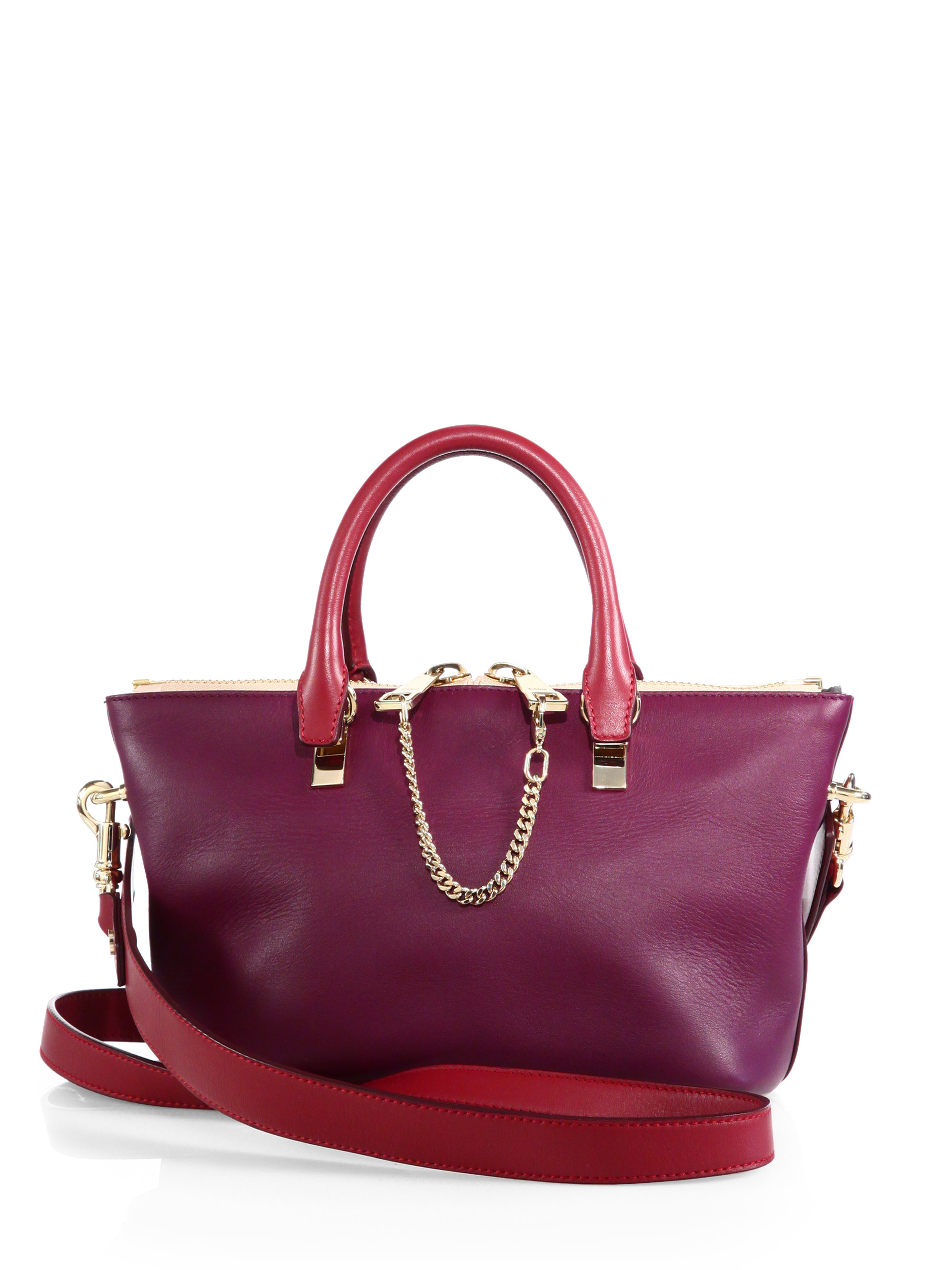 Chlo¨¦ Baylee Mini Bicolor Shoulder Bag in Purple (CRIMSON-FIG ...