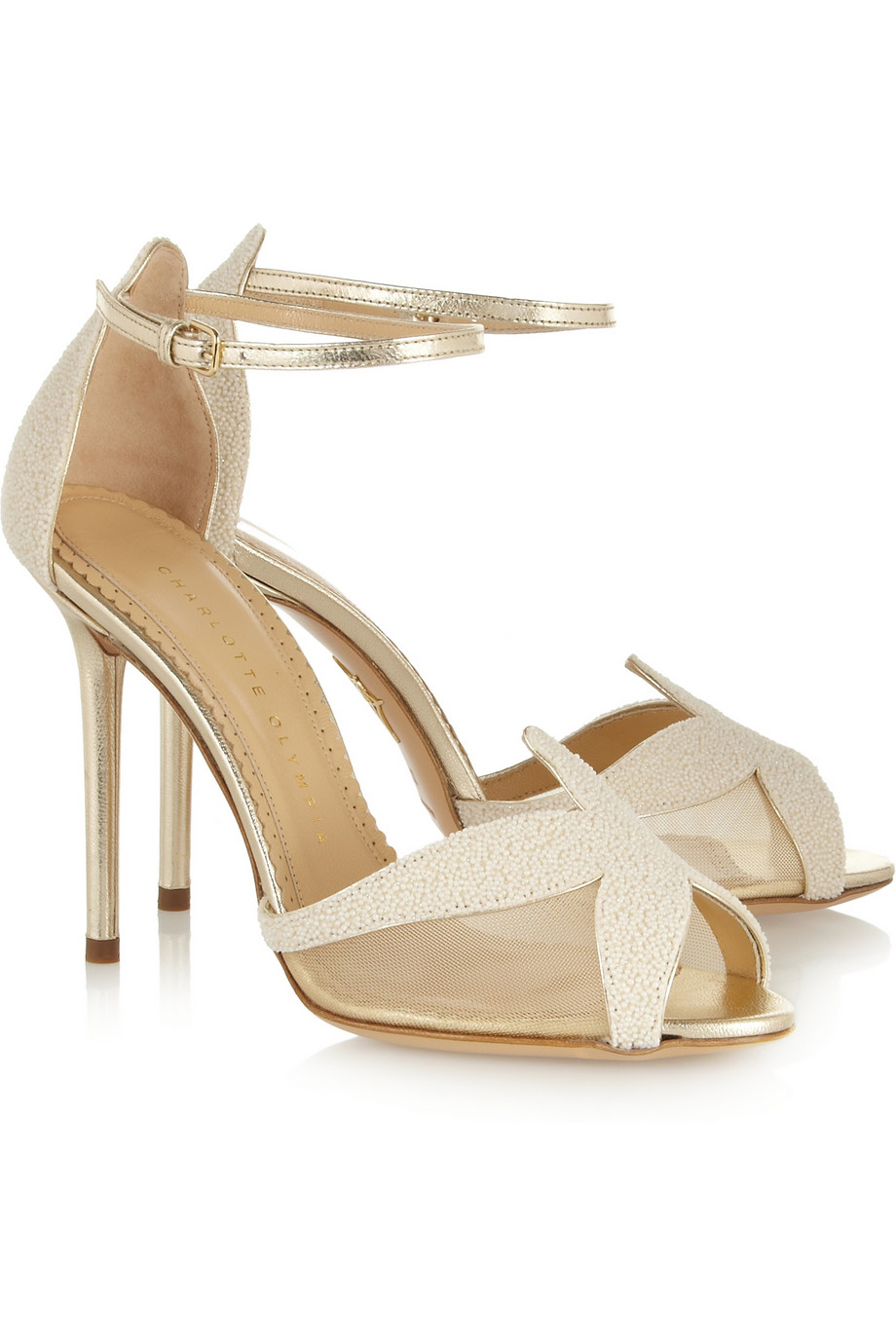 Charlotte Olympia Sandrine Beadembellished Leather Sandals