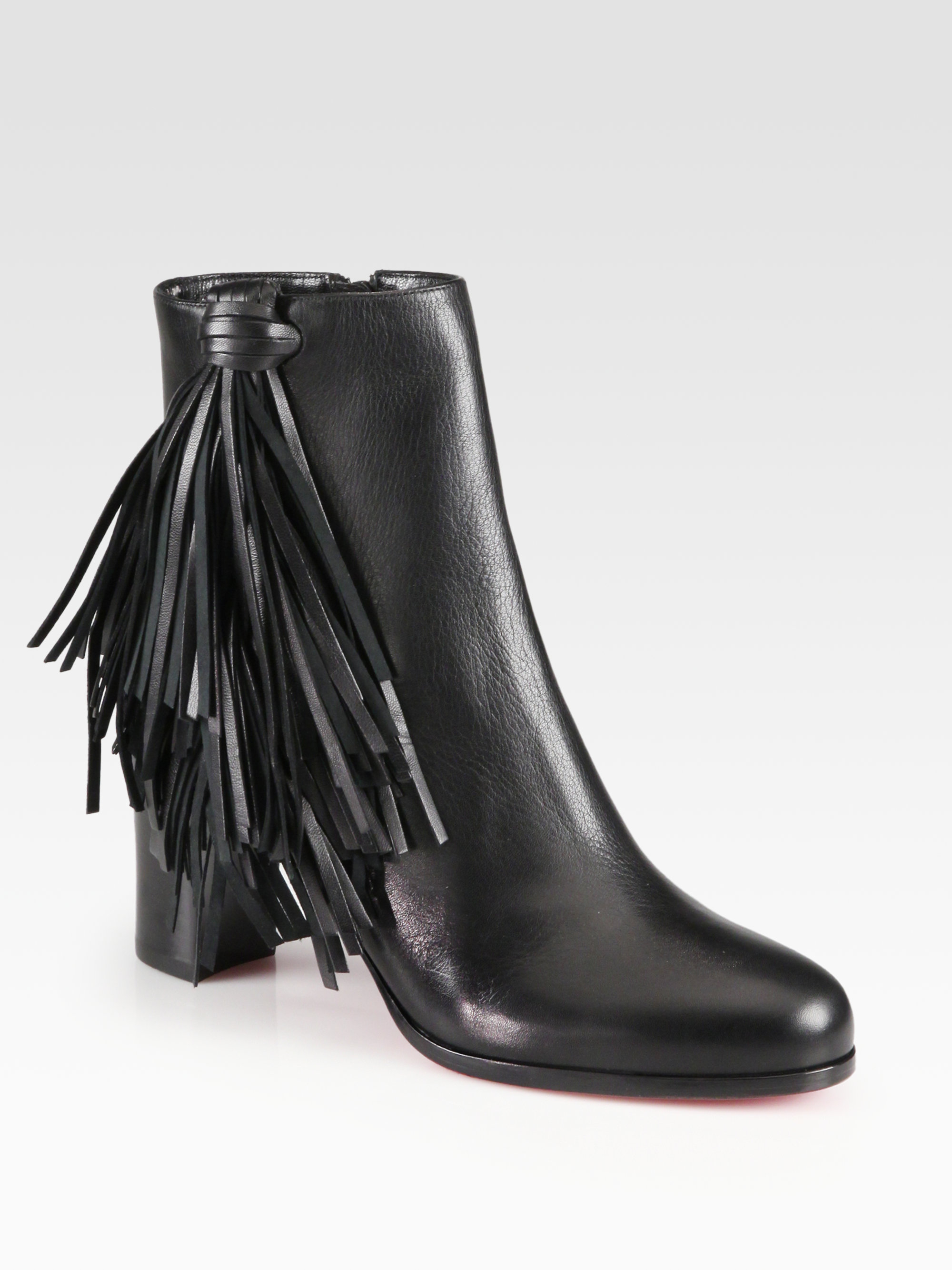 d17e96f2e799 ... ireland lyst christian louboutin jimmynetta fringe leather ankle boots  in 1299d 057f5
