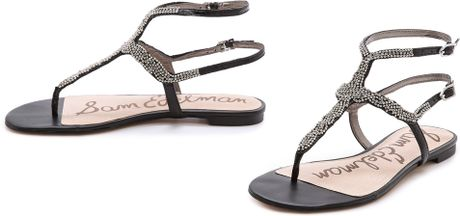 Sam Edelman Nahara Jeweled Sandals Black In Black Lyst