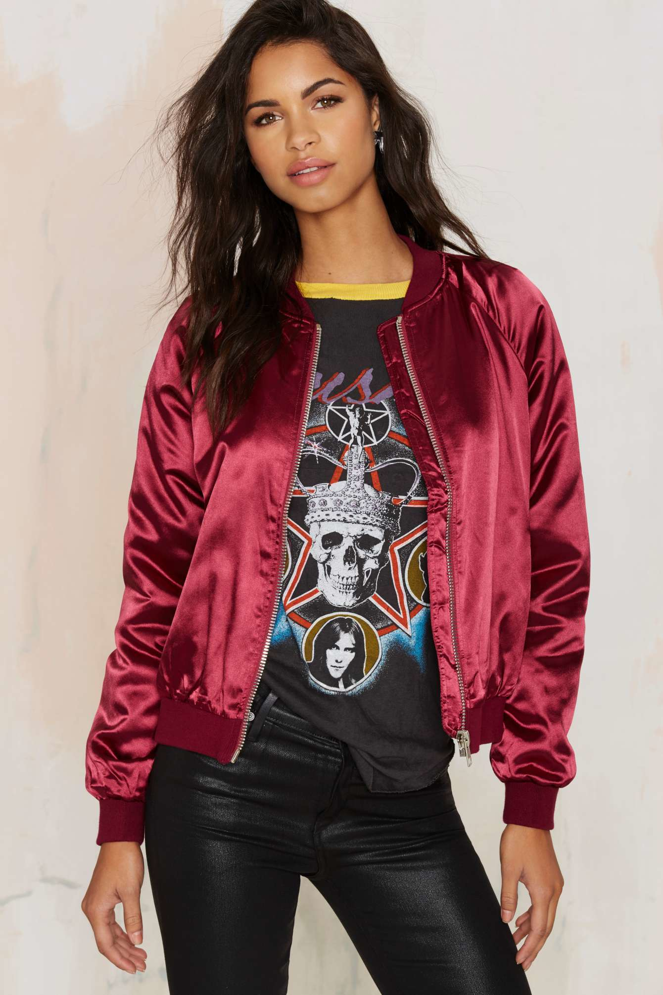Nasty gal Satin Comfort Bomber Jacket in Red | Lyst