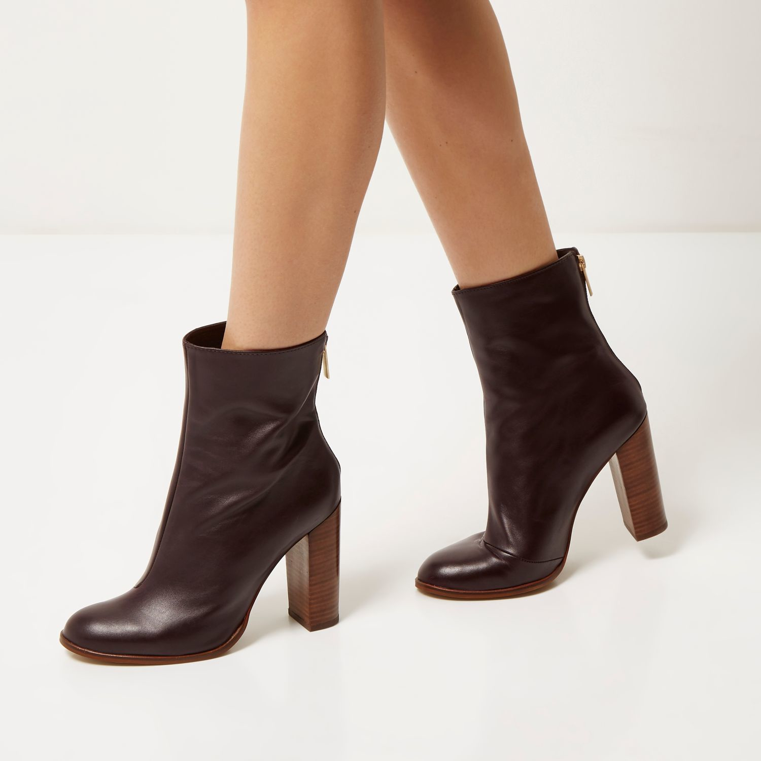 River island Dark Red Leather Heeled Ankle Boots in Red | Lyst
