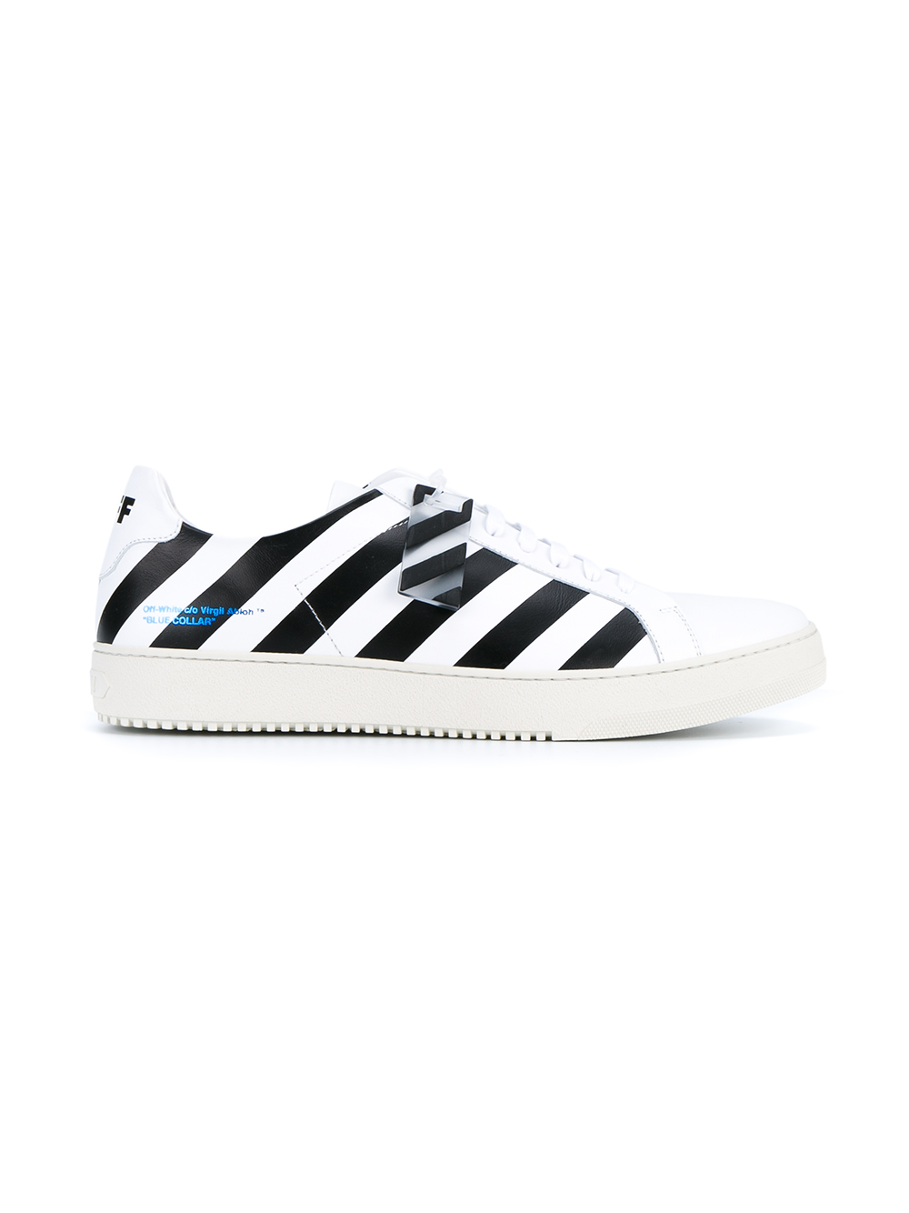 Lyst - Off-White c o Virgil Abloh Striped Leather Sneakers in White ... 60cfa4dcc32f