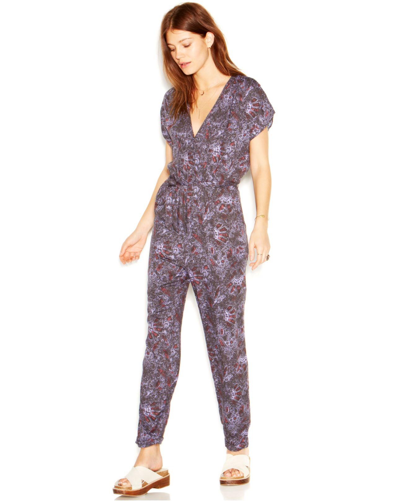 Lyst Free People V Neck Short Sleeve Floral Print Jumpsuit In Blue