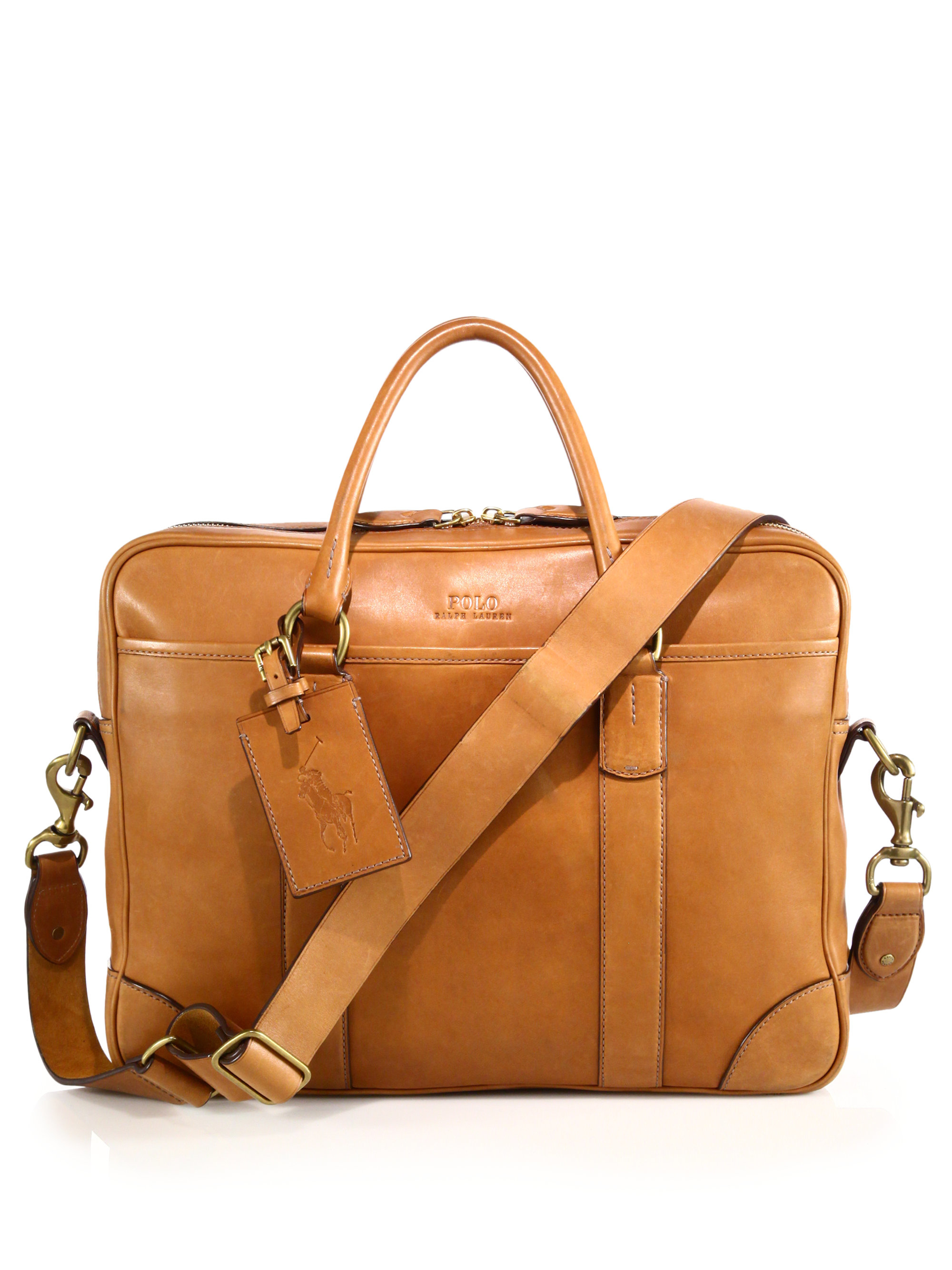 Polo Ralph Lauren. Brown Leather Commuter Bag