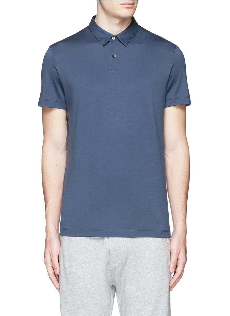 Theory 39 Bron W 39 Silk Cotton Polo Shirt In Blue For Men Lyst
