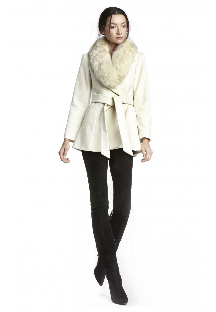 Lyst Alice Olivia Meridian Fur Trim Wrap Coat In Natural