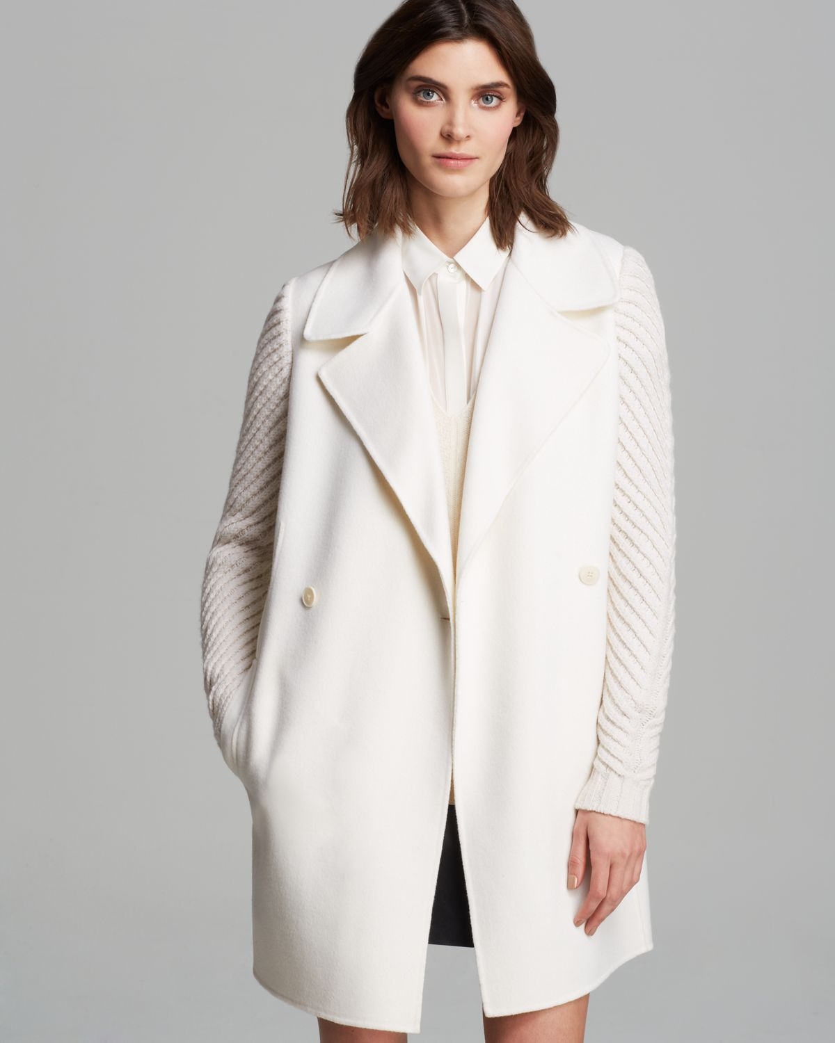 Vince Coat - Double Breasted Knit Sleeve in White | Lyst
