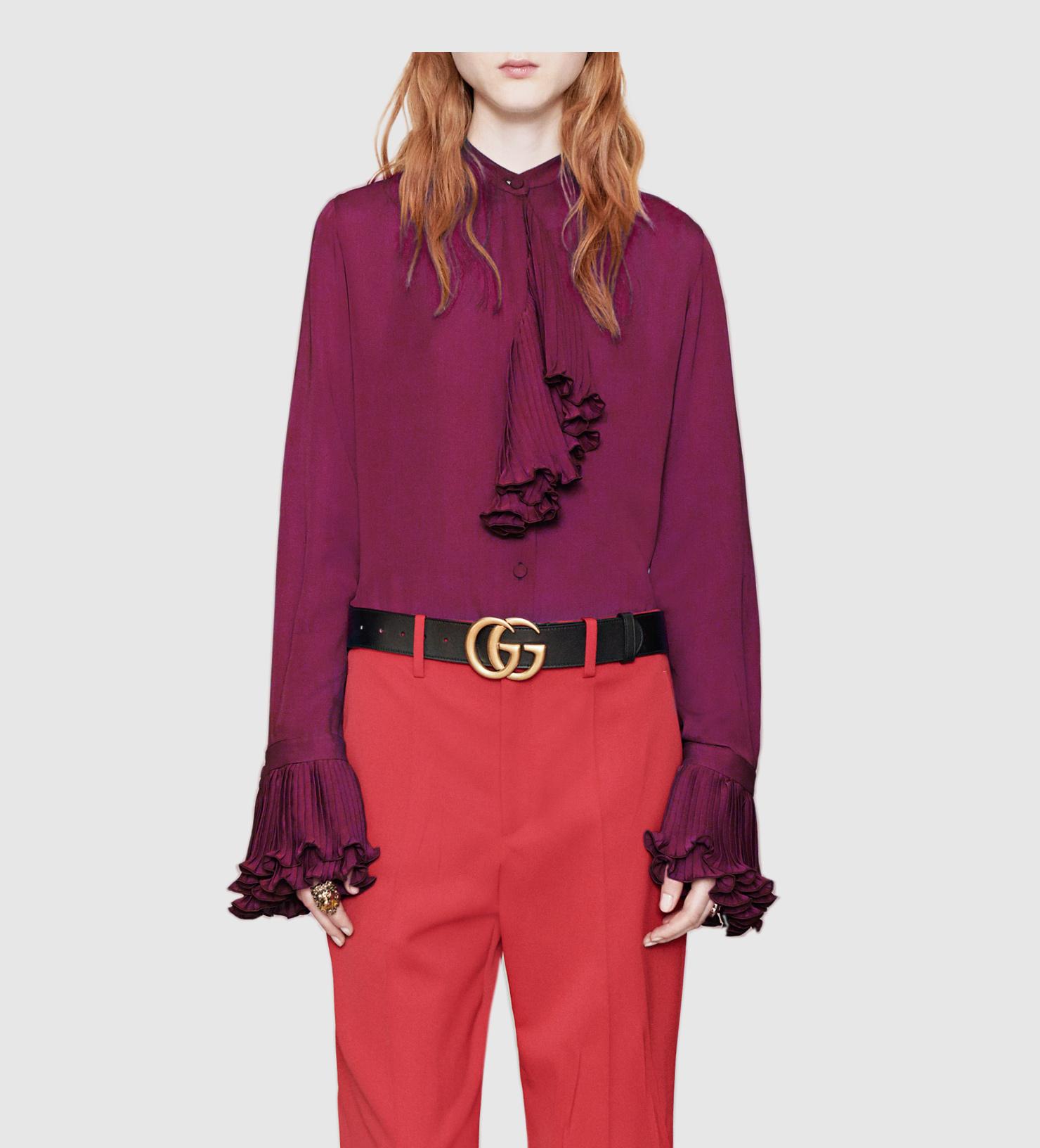 Lyst gucci silk button down shirt in purple for Silk button down shirt