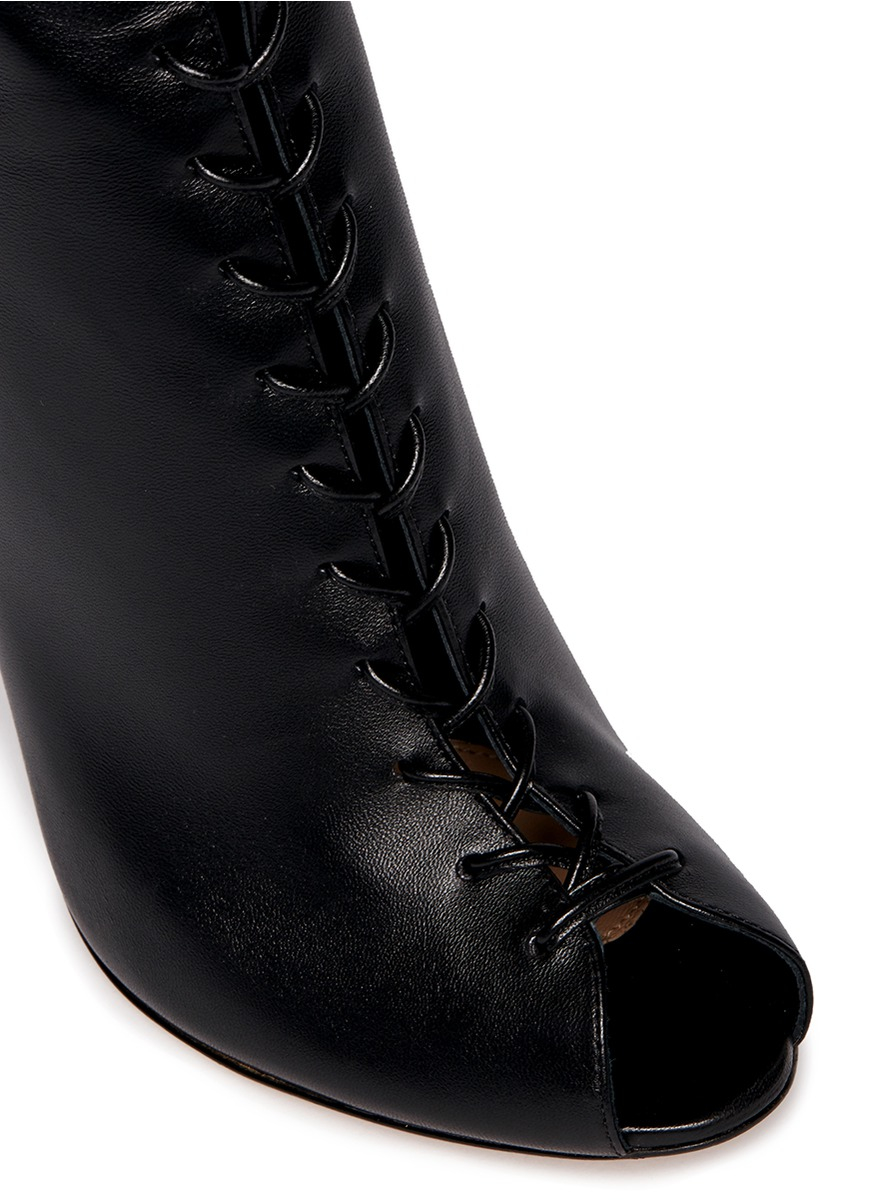 Gianvito Rossi Corset Lace Up Leather Peep Toe Boots In