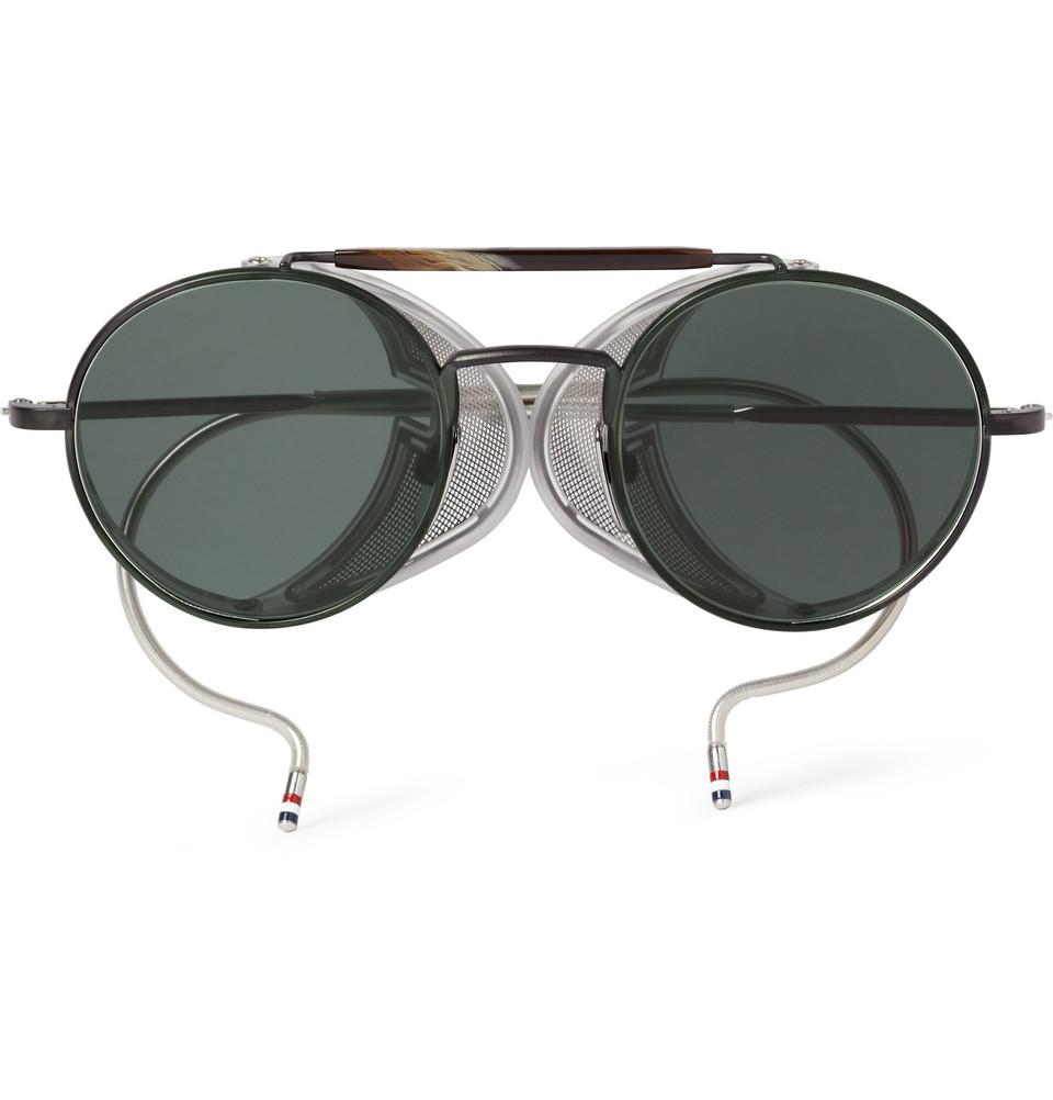 b258d0bb325 Lyst - Thom Browne Roundframe Metal and Acetate Sunglasses in Black ...