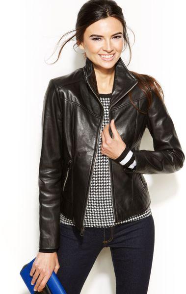 Marc New York Gwyneth Seamed Leather Moto Jacket in Black | Lyst