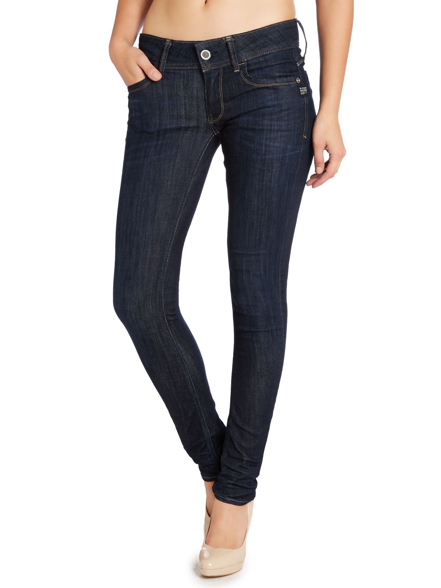 g star raw lynn mid skinny in ivie superstretch in blue lyst. Black Bedroom Furniture Sets. Home Design Ideas