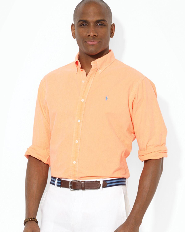 lyst ralph lauren polo custom oxford button down shirt slim fit in orange for men. Black Bedroom Furniture Sets. Home Design Ideas