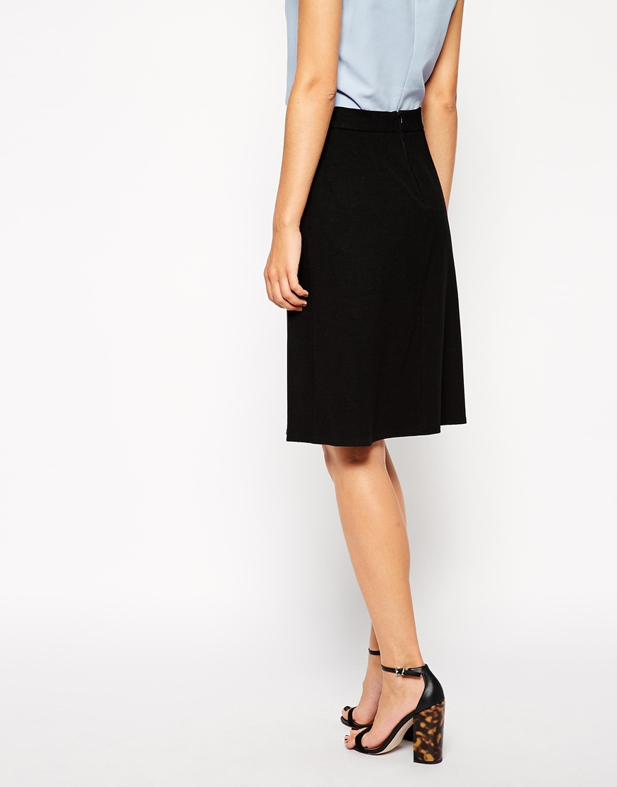 asos a line skirt in ponte in green lyst