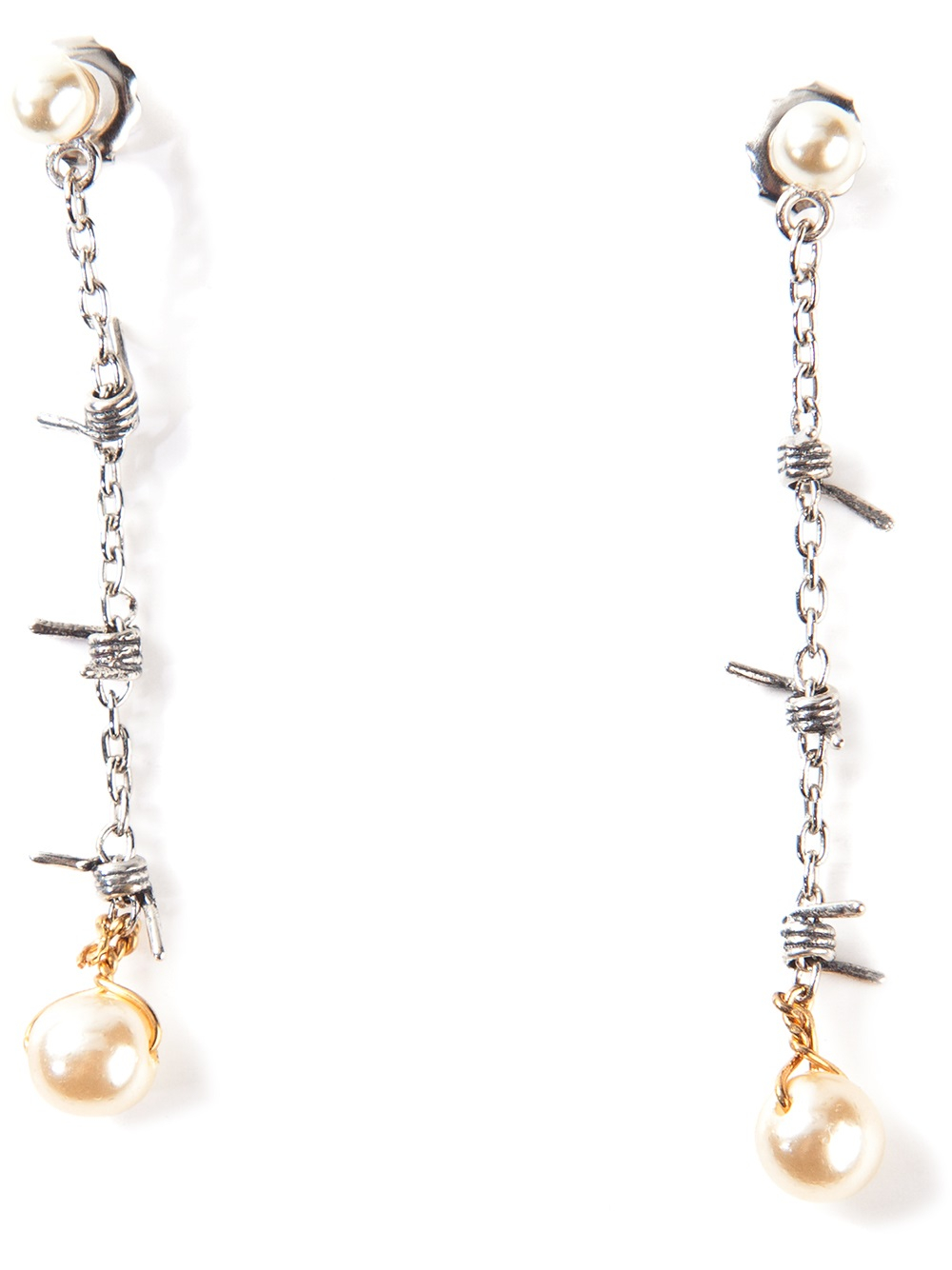 Lyst Tom Binns Pearl And Barb Wire Drop Earrings In Metallic