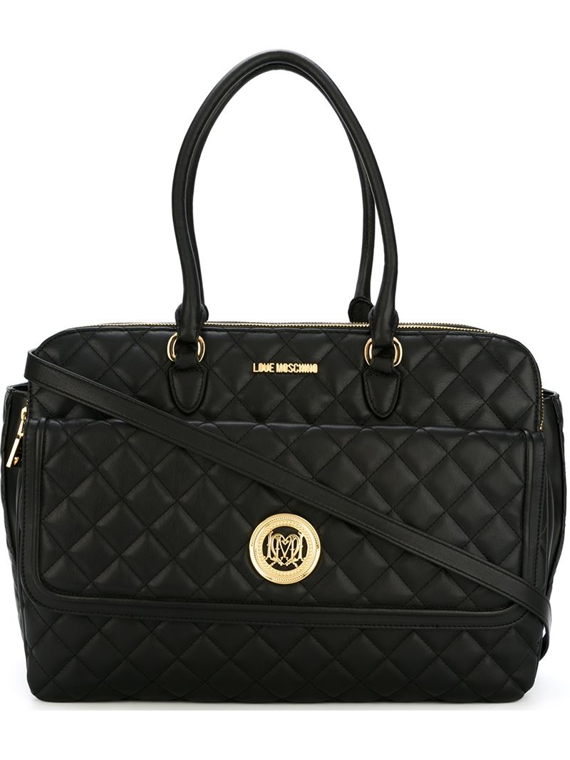 love moschino quilted strap bag in black lyst. Black Bedroom Furniture Sets. Home Design Ideas