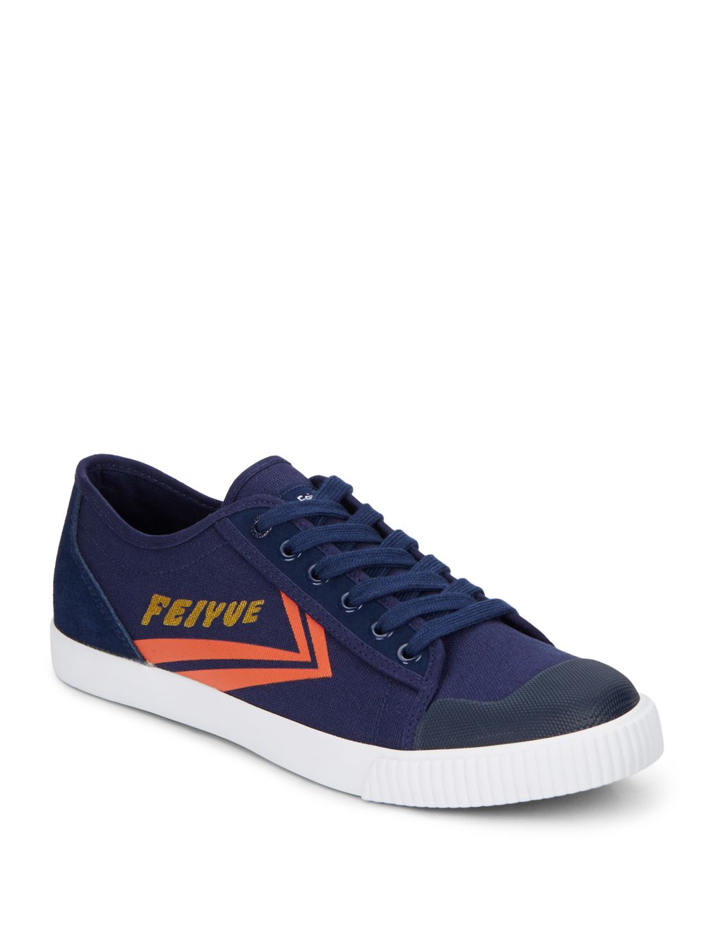 feiyue fe lo ii canvas leather sneakers in blue for
