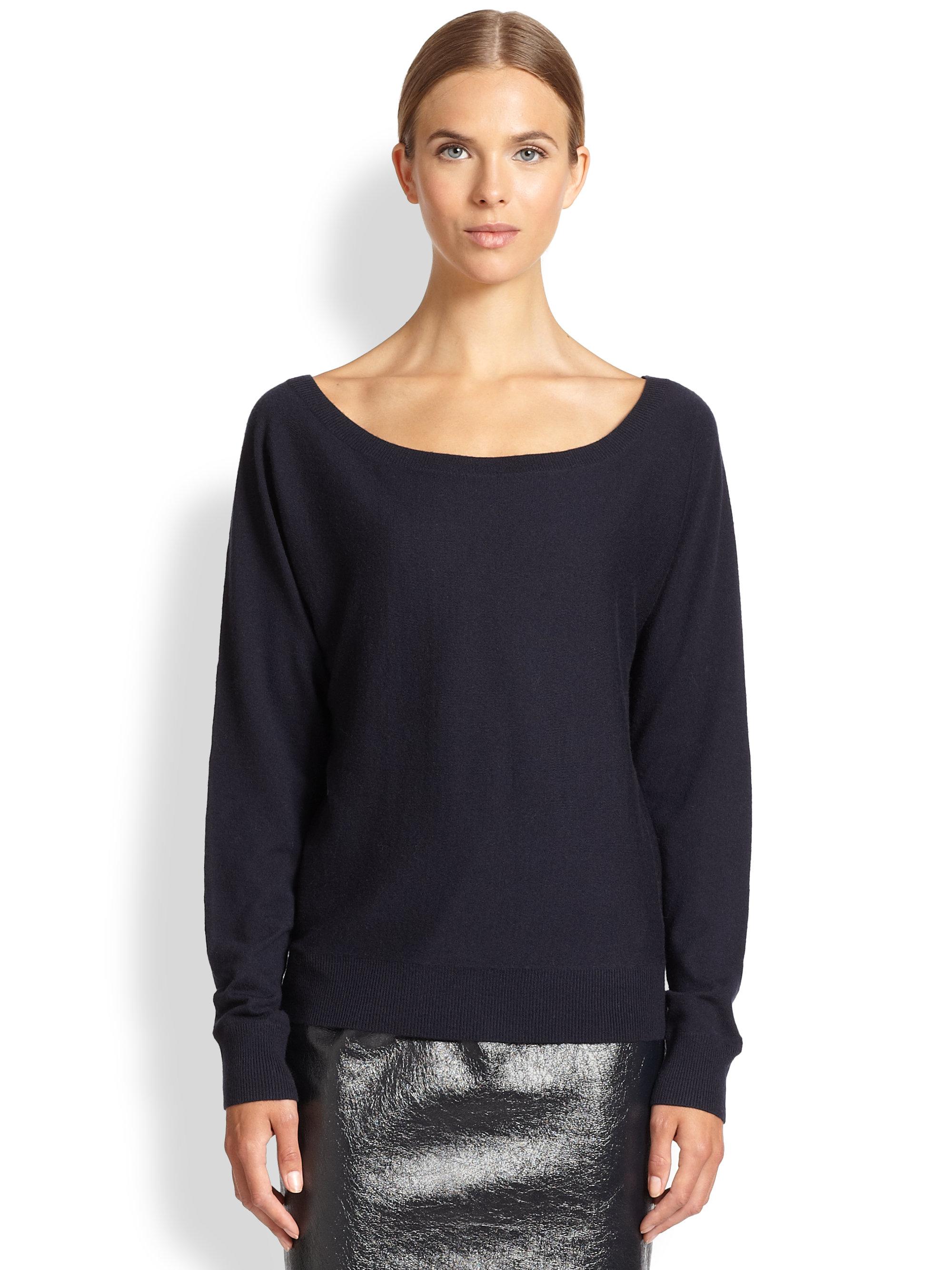 Tamara mellon Off-The-Shoulder Cashmere Sweater in Blue | Lyst
