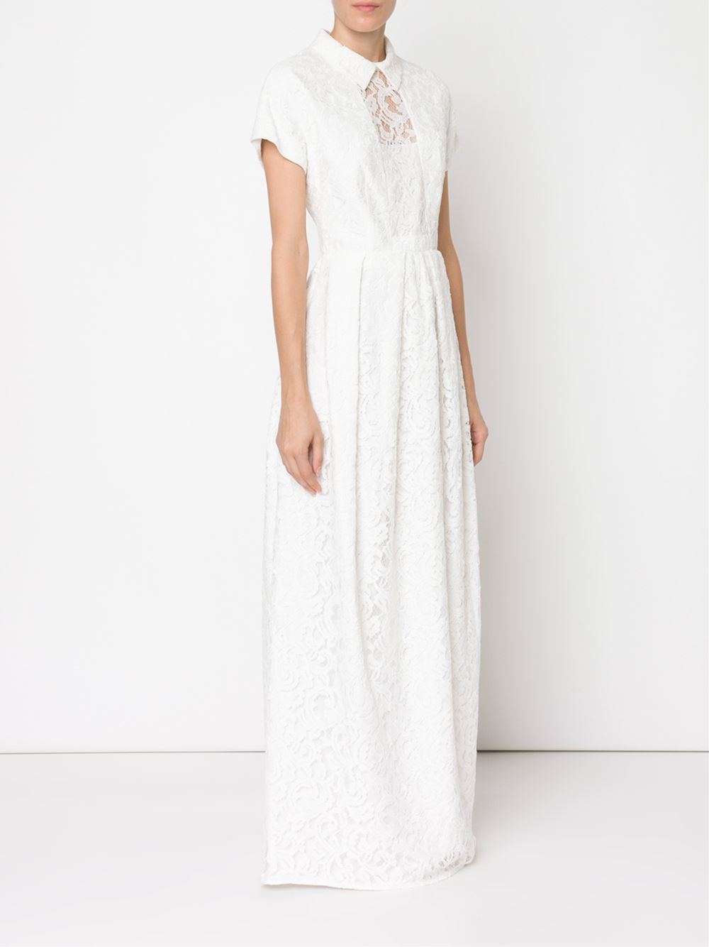 Lyst - Carven Lace Maxi Dress in White