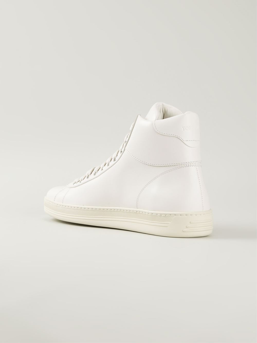 tom ford high top lace up sneakers in white lyst