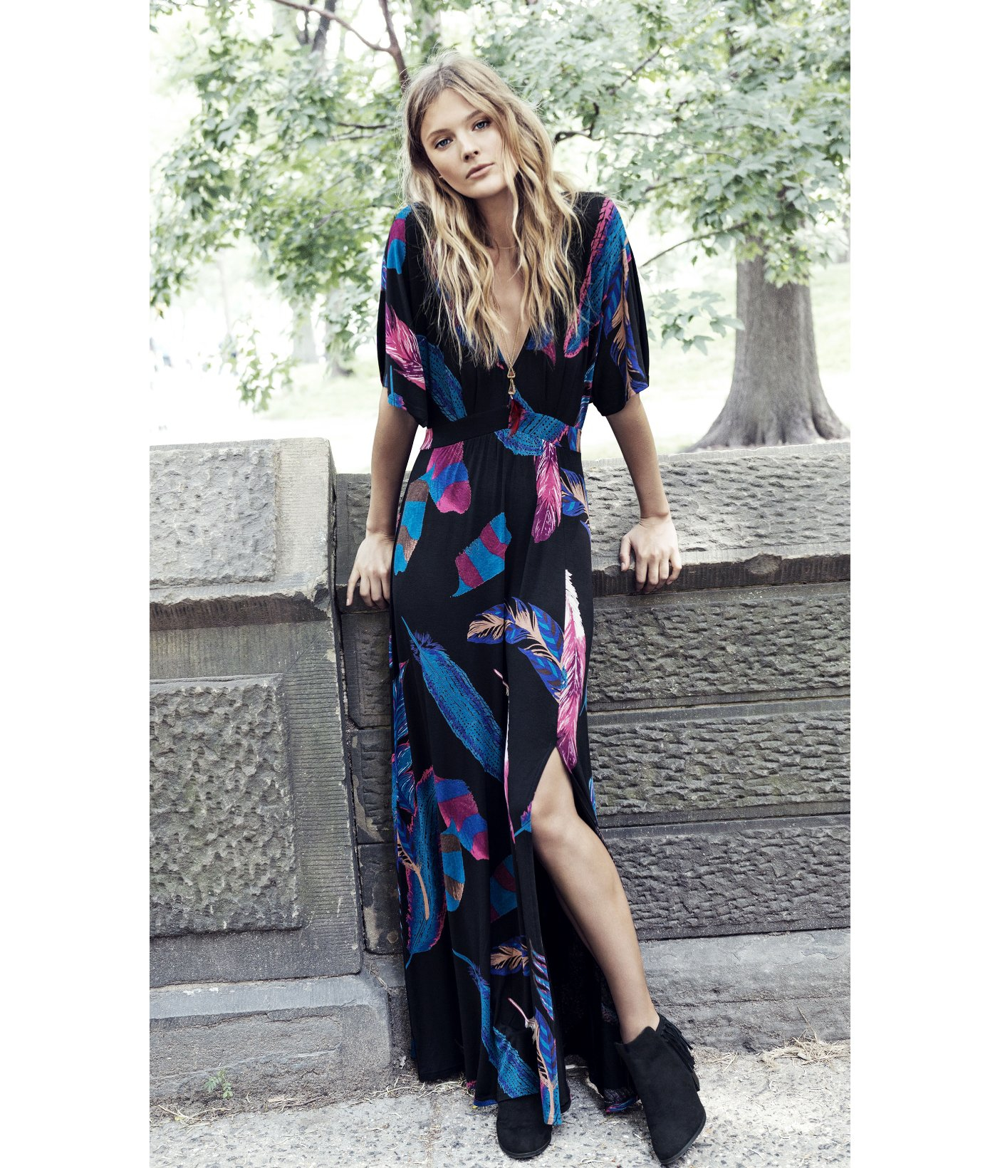 Calvin klein v-neck kimono maxi dress