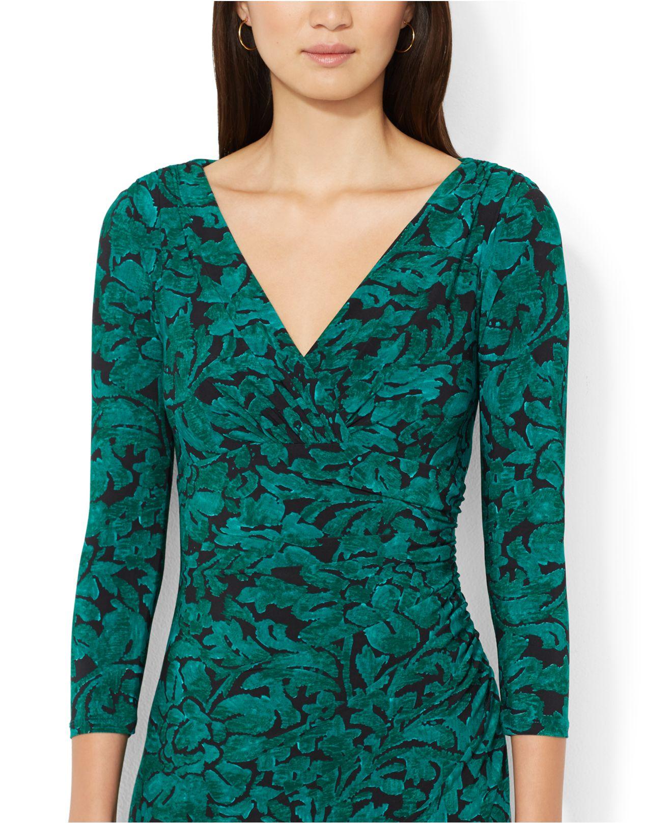 Lauren By Ralph Lauren Floral Print Faux Wrap Dress In