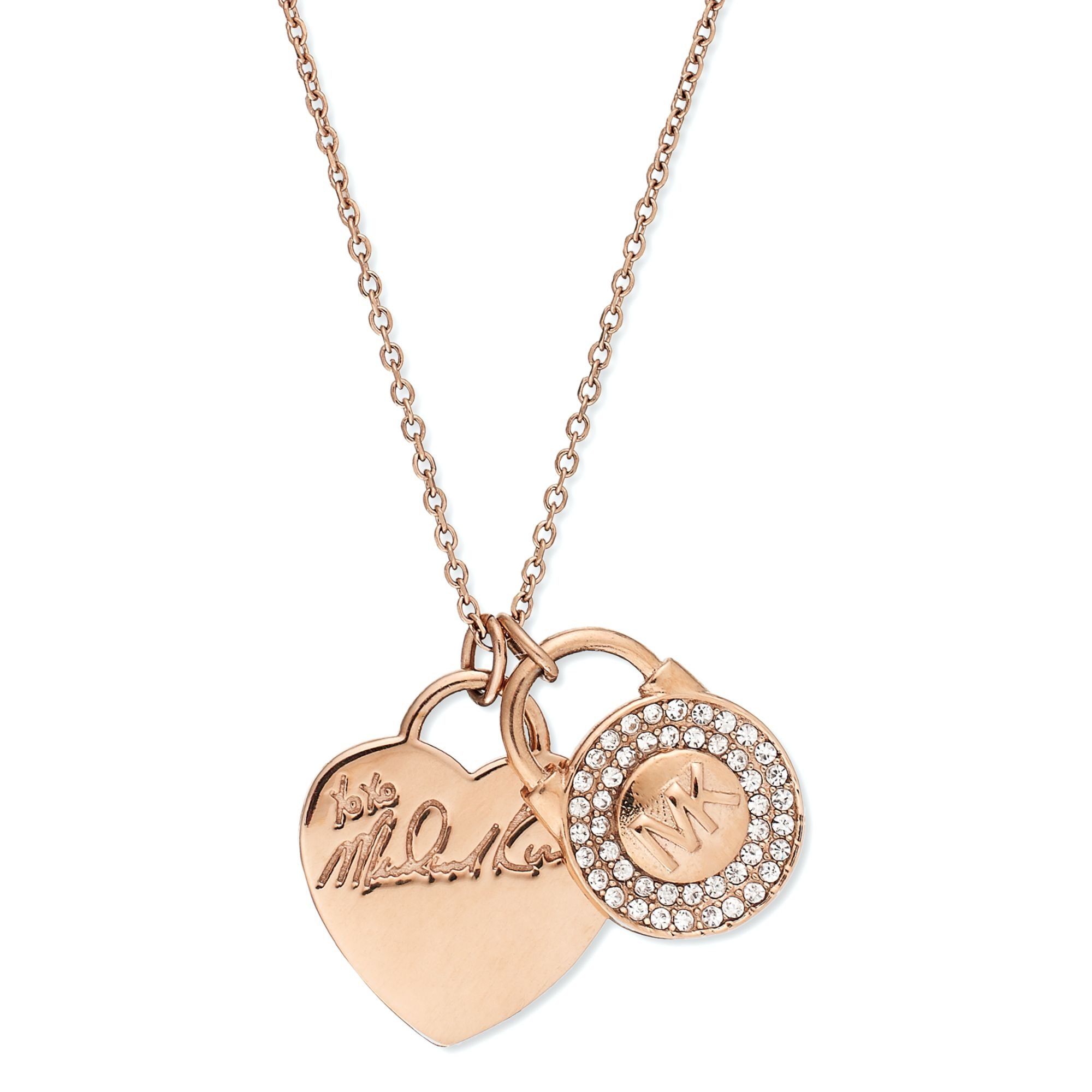 Michael kors rosegoldtone heart and pave lock charm for Michael b s jewelry