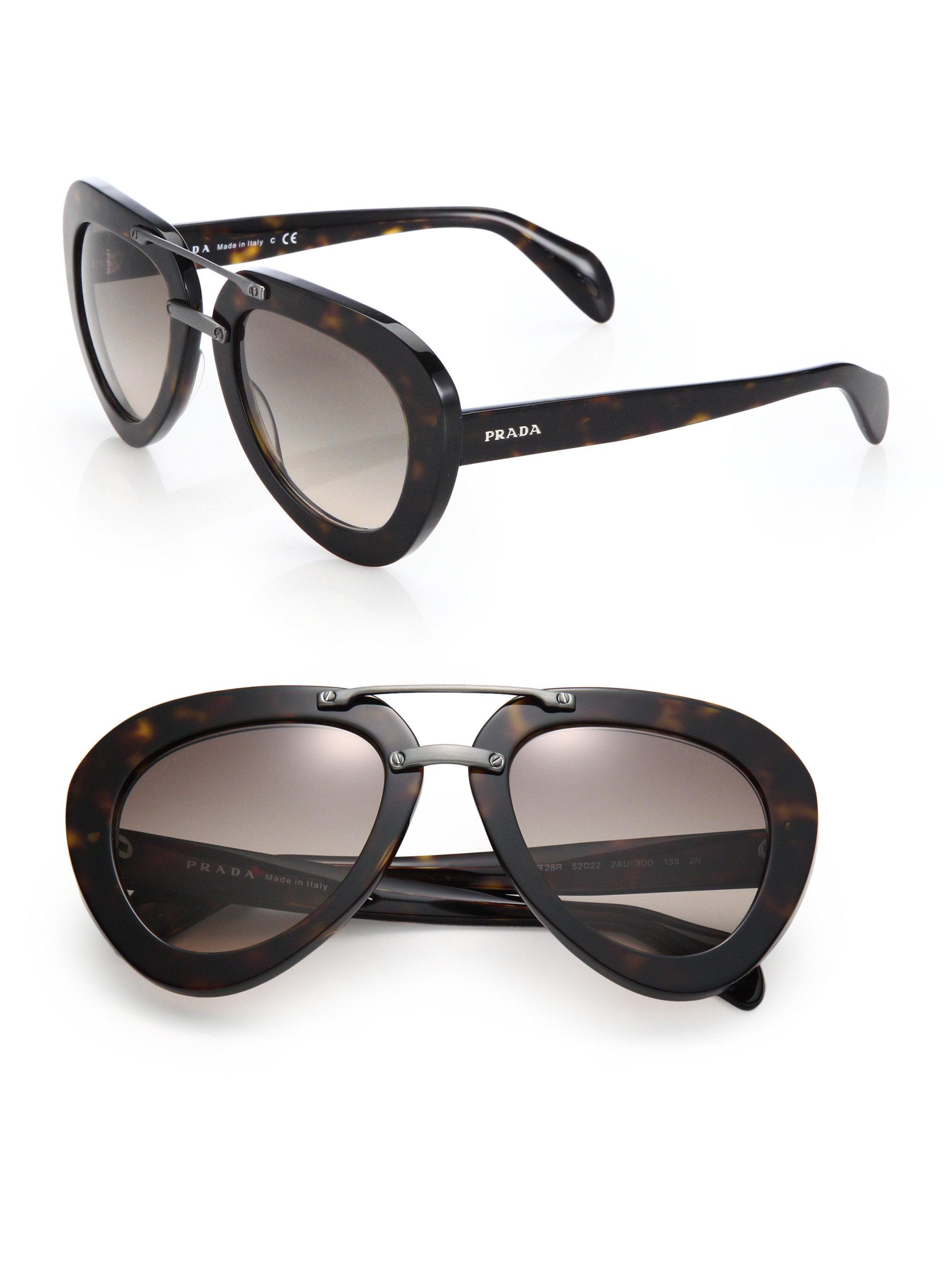 e355d465e45bd ... france lyst prada 52mm pilot sunglasses in black 3750b 107e1