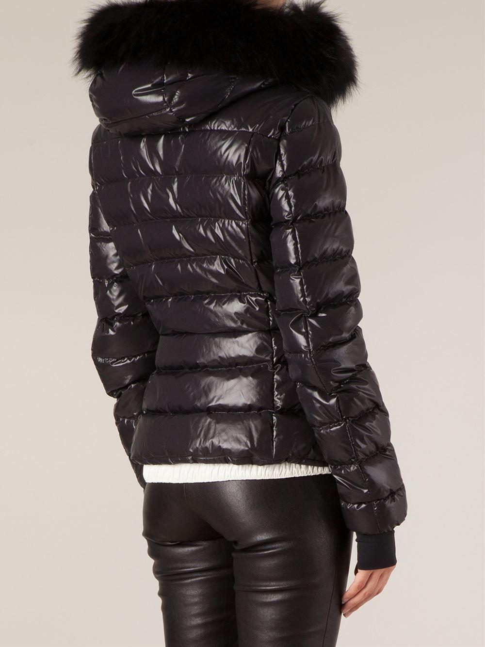 Lyst Moncler Grenoble Fur Hood Padded Jacket In Black
