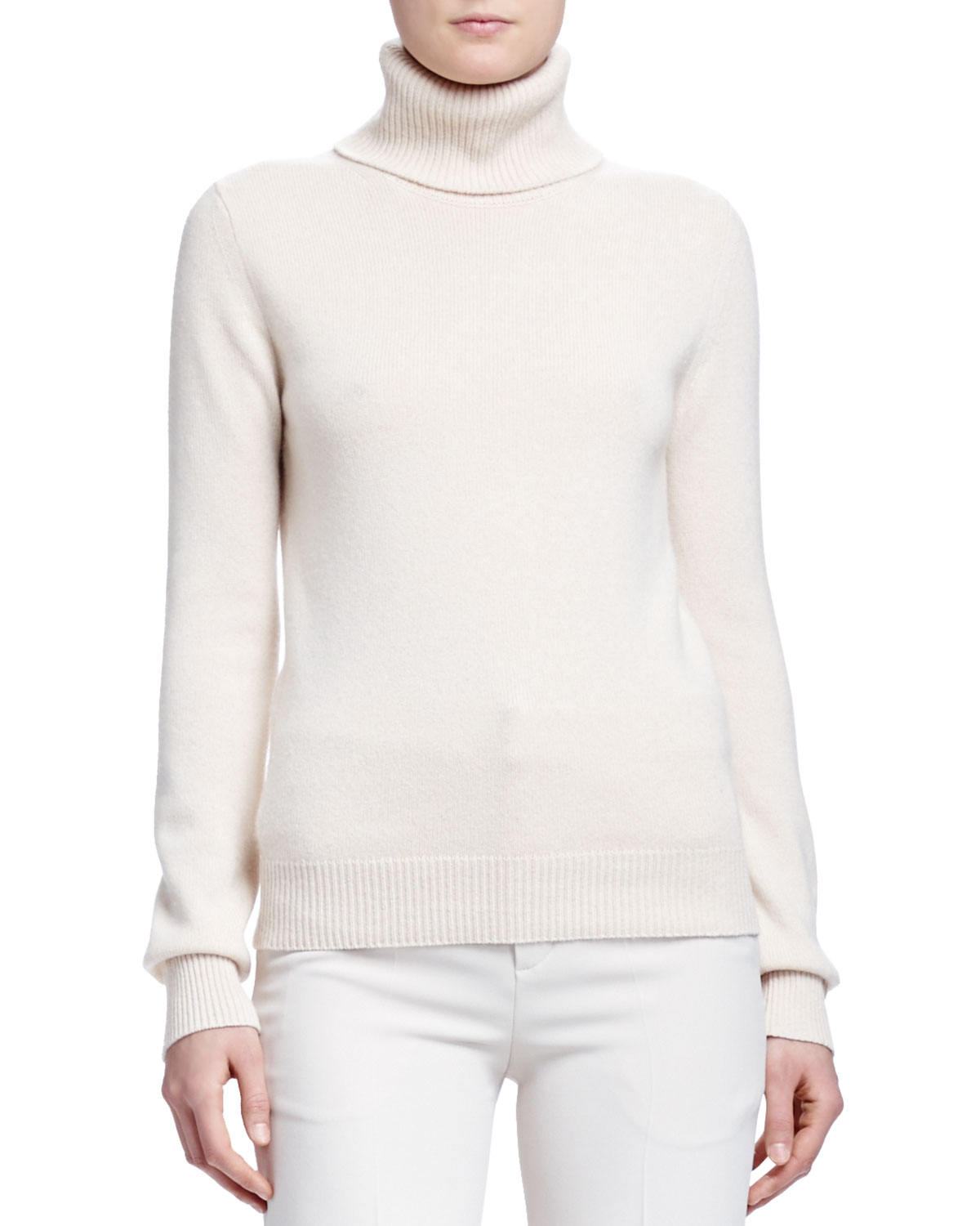 Chloé Cashmere Ribbed-knit Turtleneck Sweater in Natural | Lyst