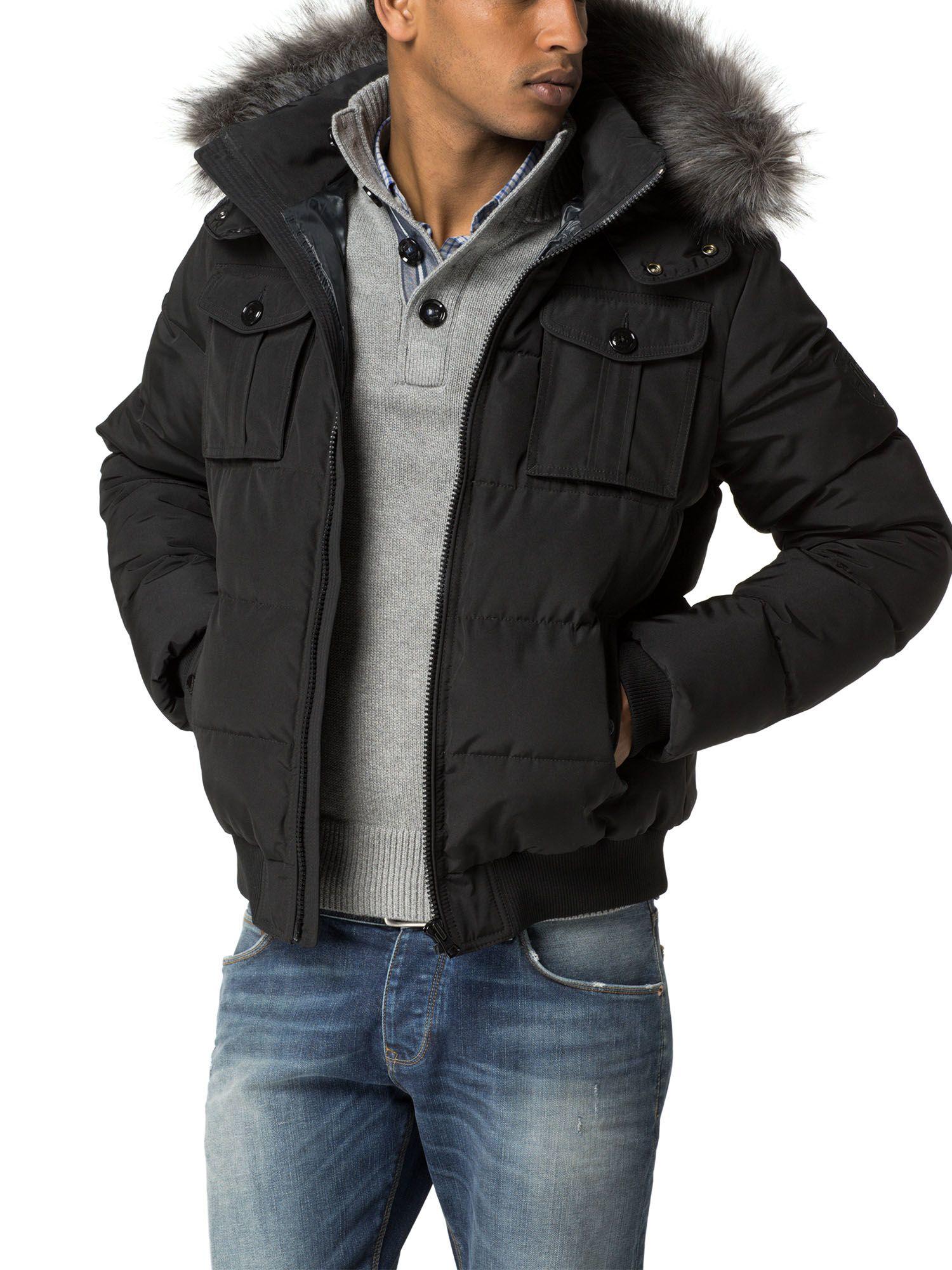 tommy hilfiger darren bomber jacket in black for men lyst. Black Bedroom Furniture Sets. Home Design Ideas