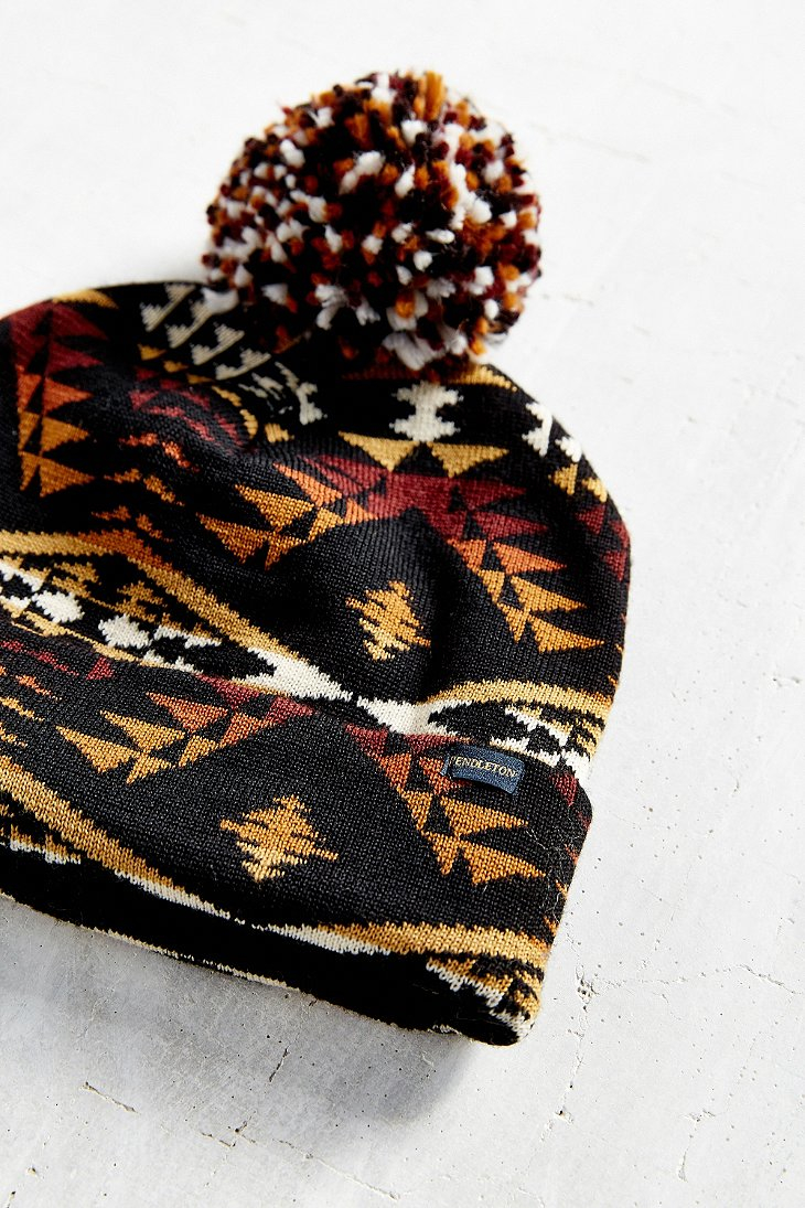 f55d1672a5 Lyst - Pendleton Patterned Pom Beanie in Black