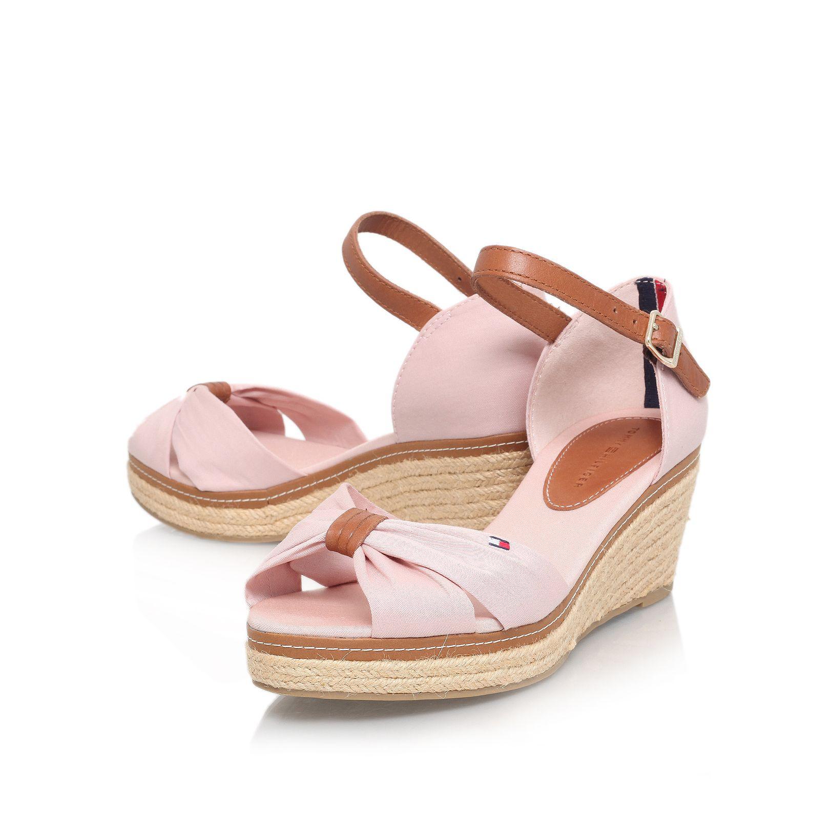 tommy hilfiger elba 19d mid wedge heel sandals in pink lyst. Black Bedroom Furniture Sets. Home Design Ideas
