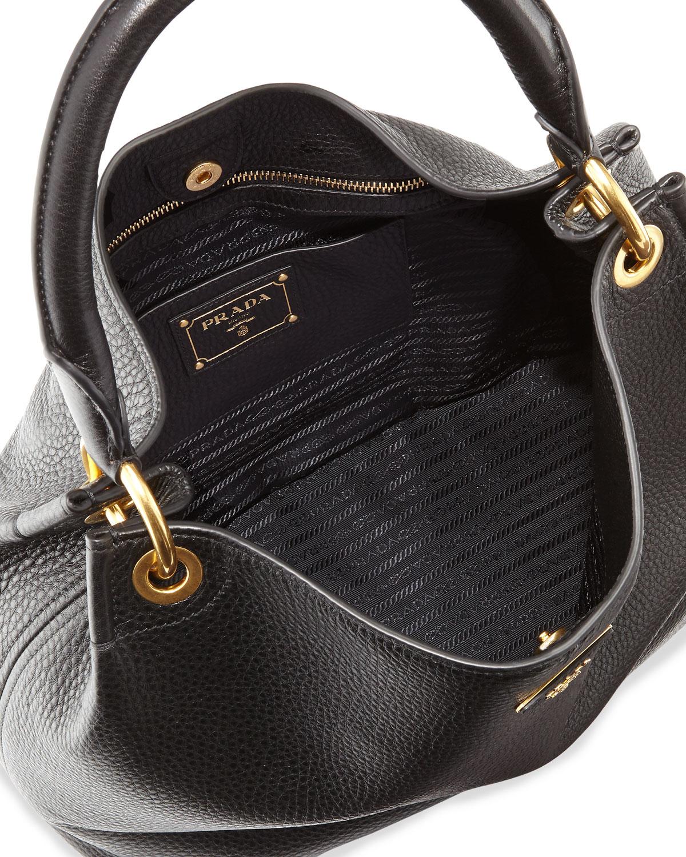 Lyst - Prada Vitello Daino Single-strap Hobo Bag in Black 71ff7bf477de0