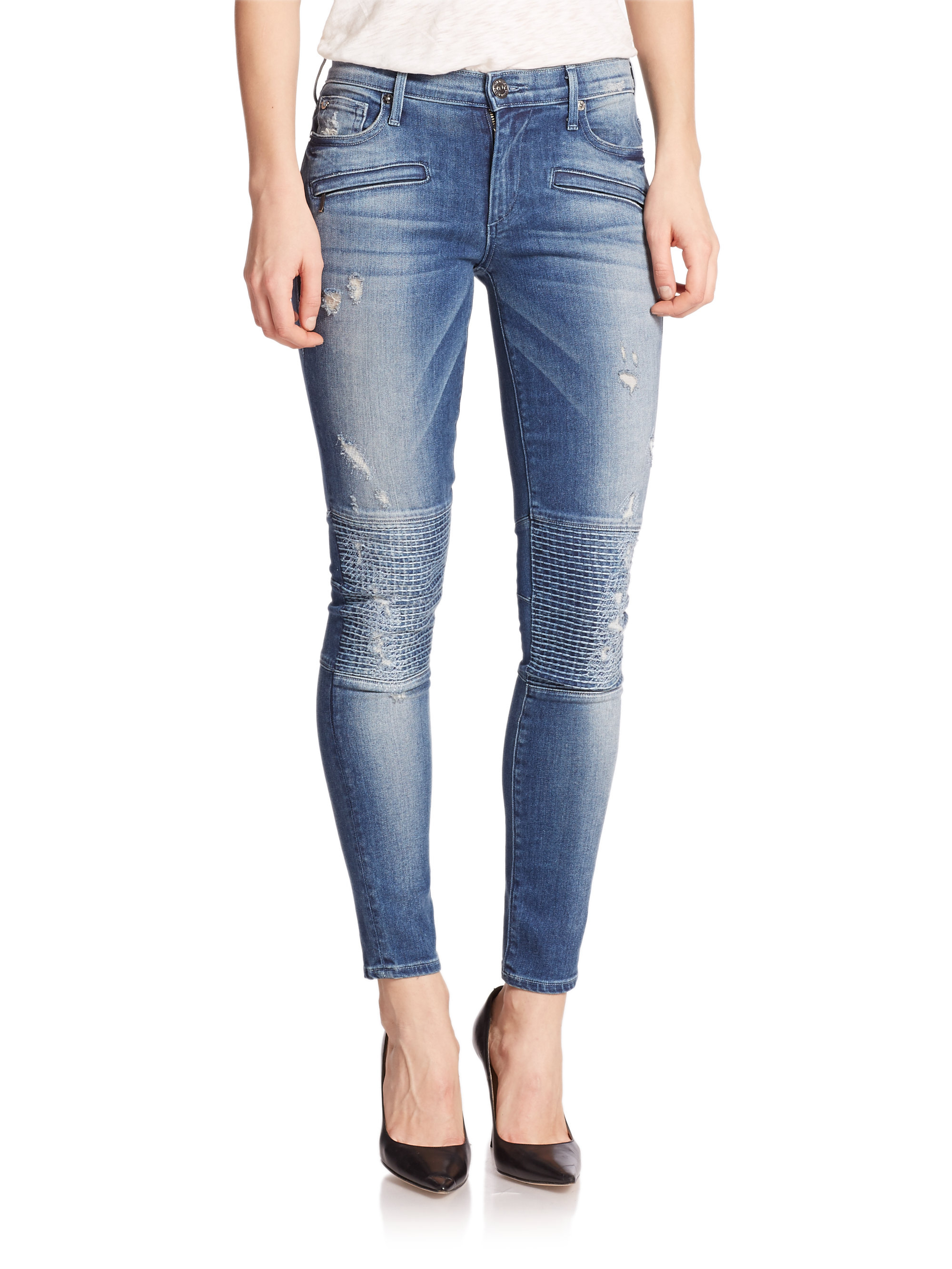 4616f89f8 True Religion Halle Distressed Skinny Moto Jeans in Blue - Lyst