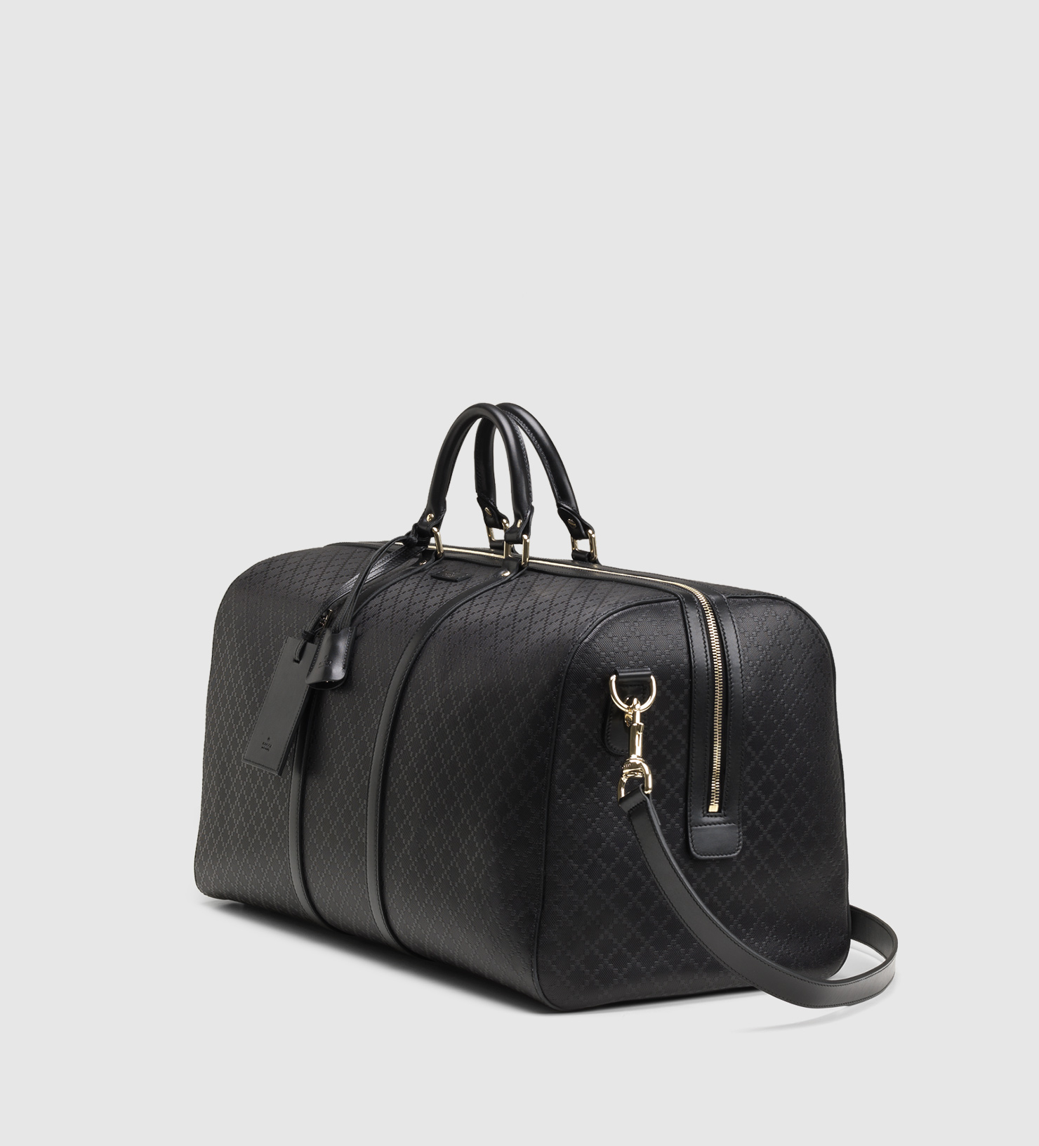 36c0c18f1bd Lyst - Gucci Bright Diamante Leather Carry-on Duffle Bag in Black ...
