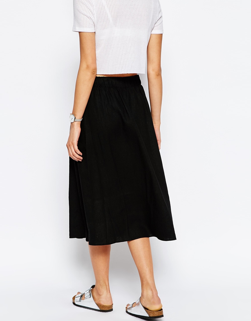 asos midi skirt in linen in black lyst