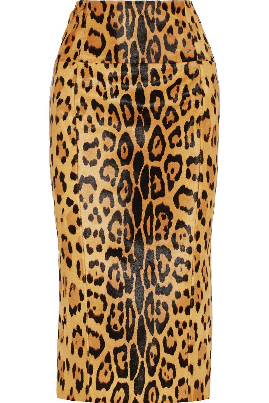 balmain leopard print calf hair midi skirt in brown lyst