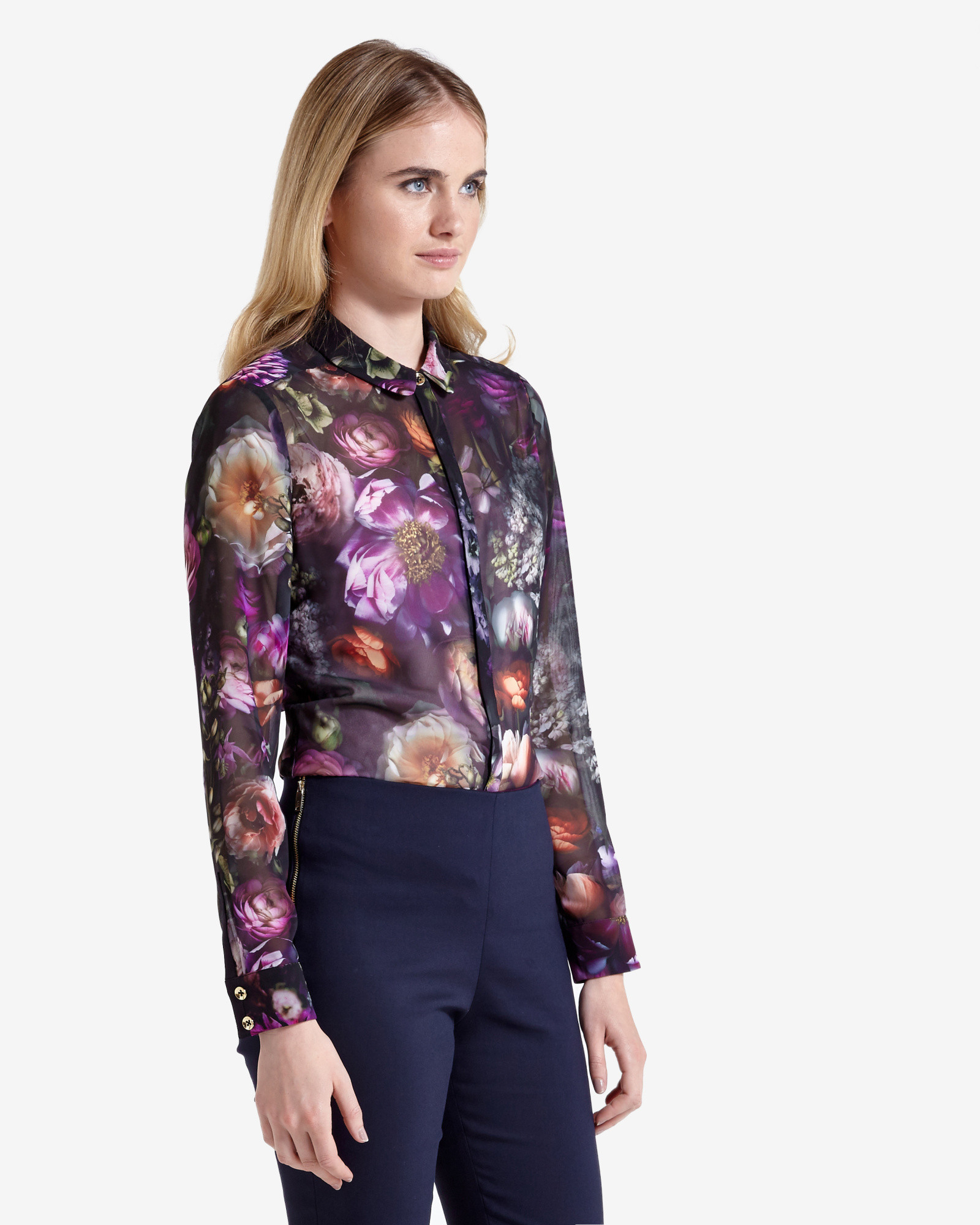 Ted baker malinda shadow floral shirt in black lyst for Ted baker floral print shirt